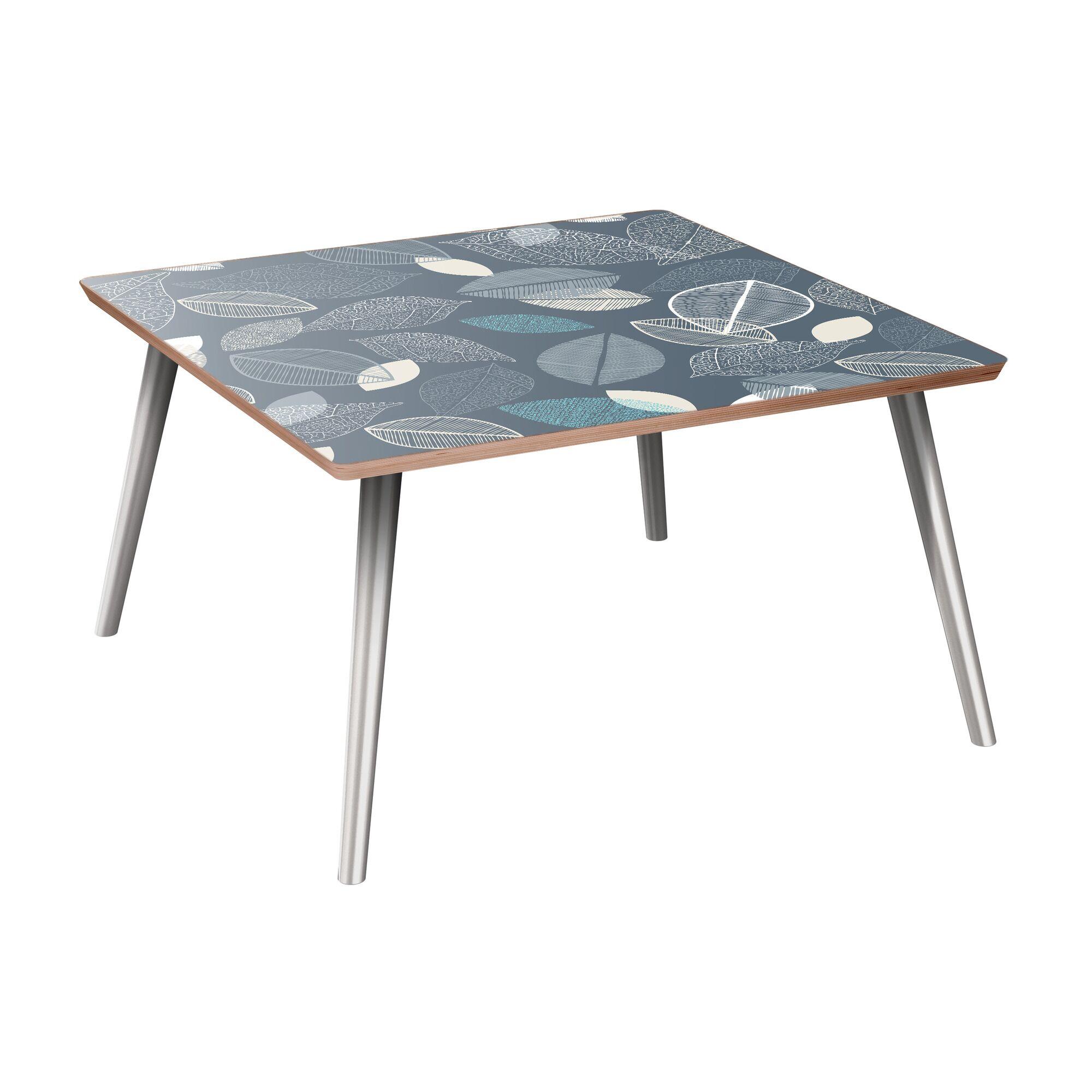 La Puente Coffee Table Table Base Color: Chrome, Table Top Boarder Color: Walnut, Table Top Color: Blue