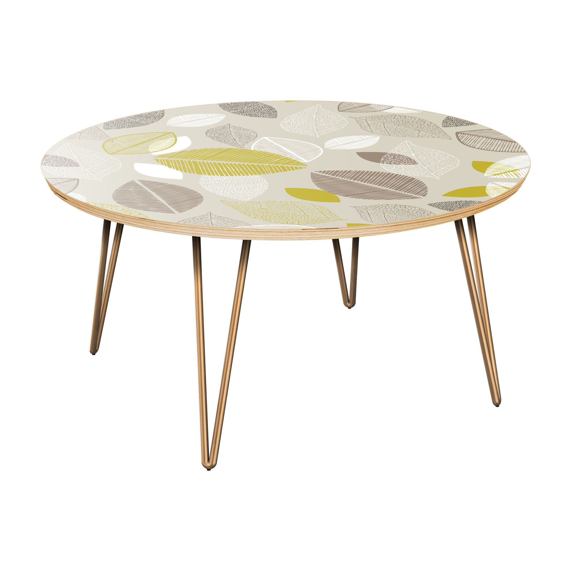 Joshuah Coffee Table Table Top Boarder Color: Natural, Table Base Color: Brass, Table Top Color: Green/Brown