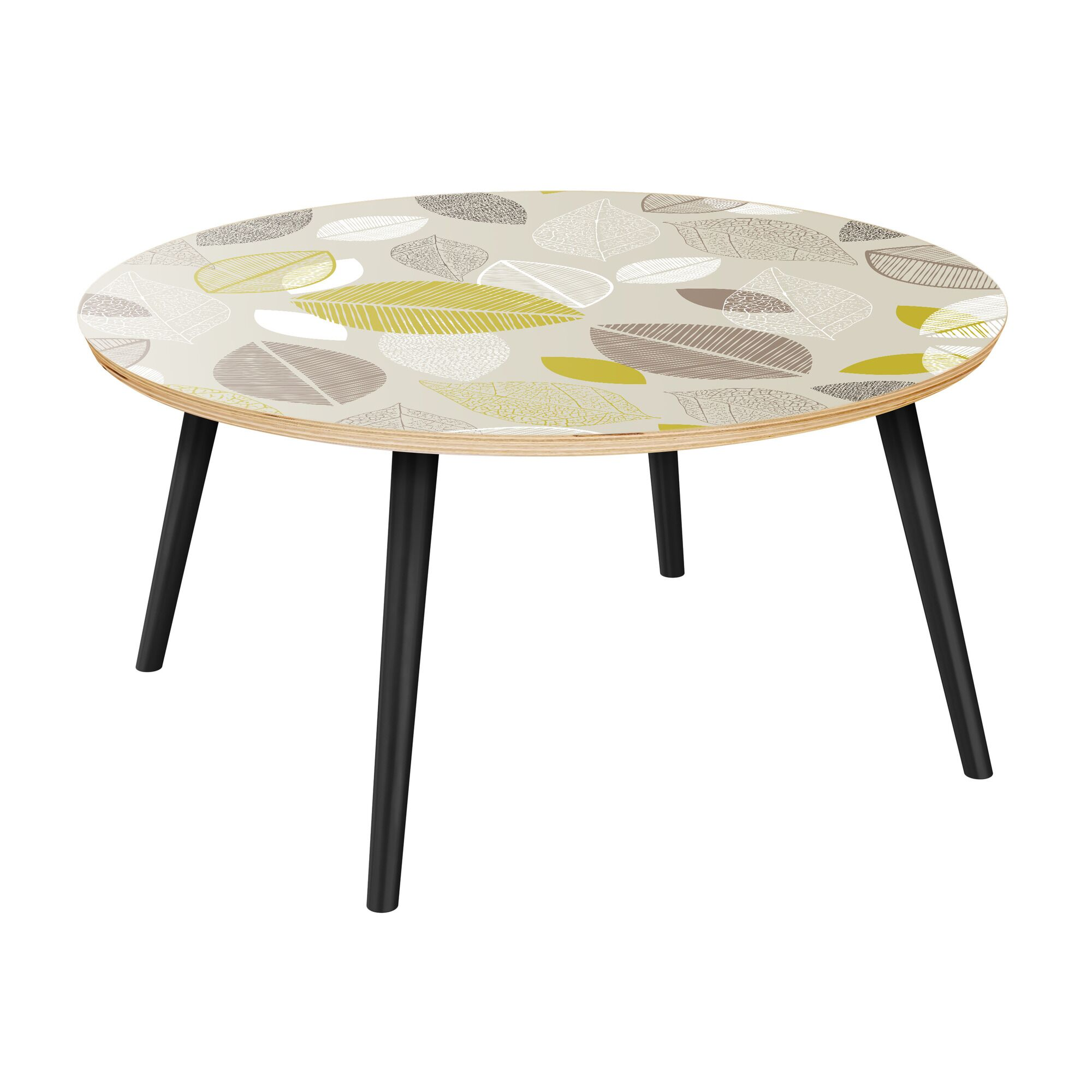 Jepson Coffee Table Table Top Boarder Color: Natural, Table Base Color: Black, Table Top Color: Green/Brown