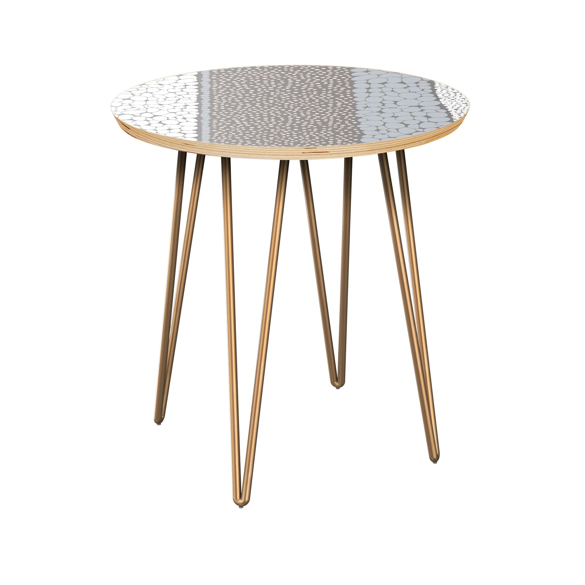 Galasso End Table Table Top Color: Natural, Table Base Color: Brass