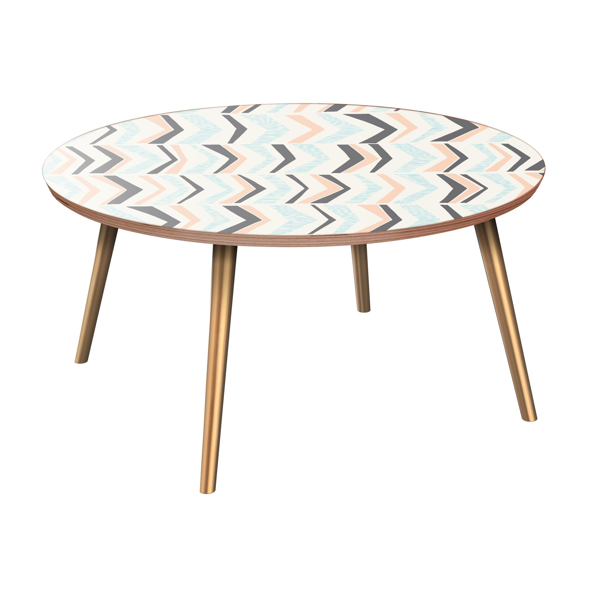 Inez Coffee Table Table Base Color: Brass, Table Top Color: Walnut