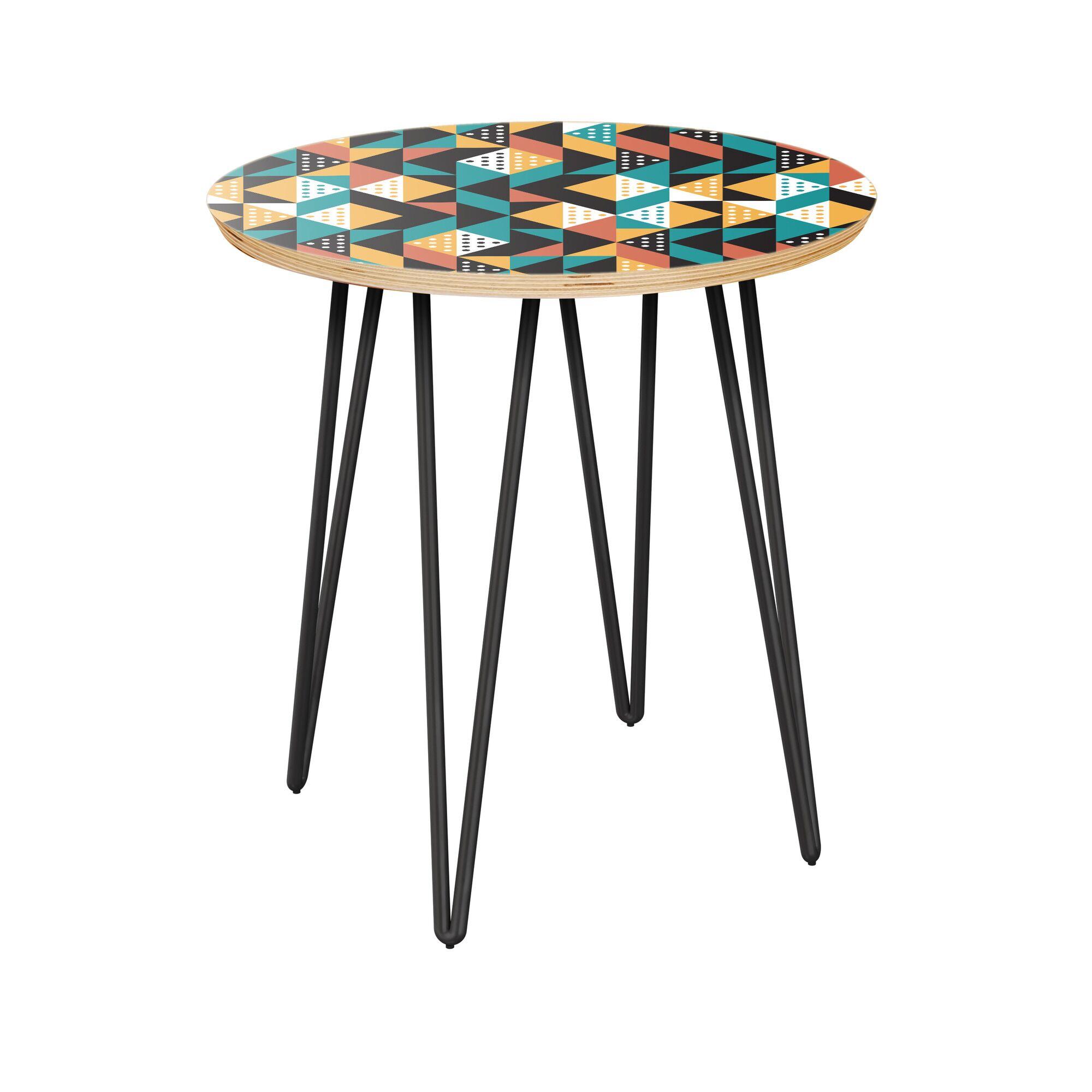 Aprea End Table Table Top Color: Natural, Table Base Color: Black