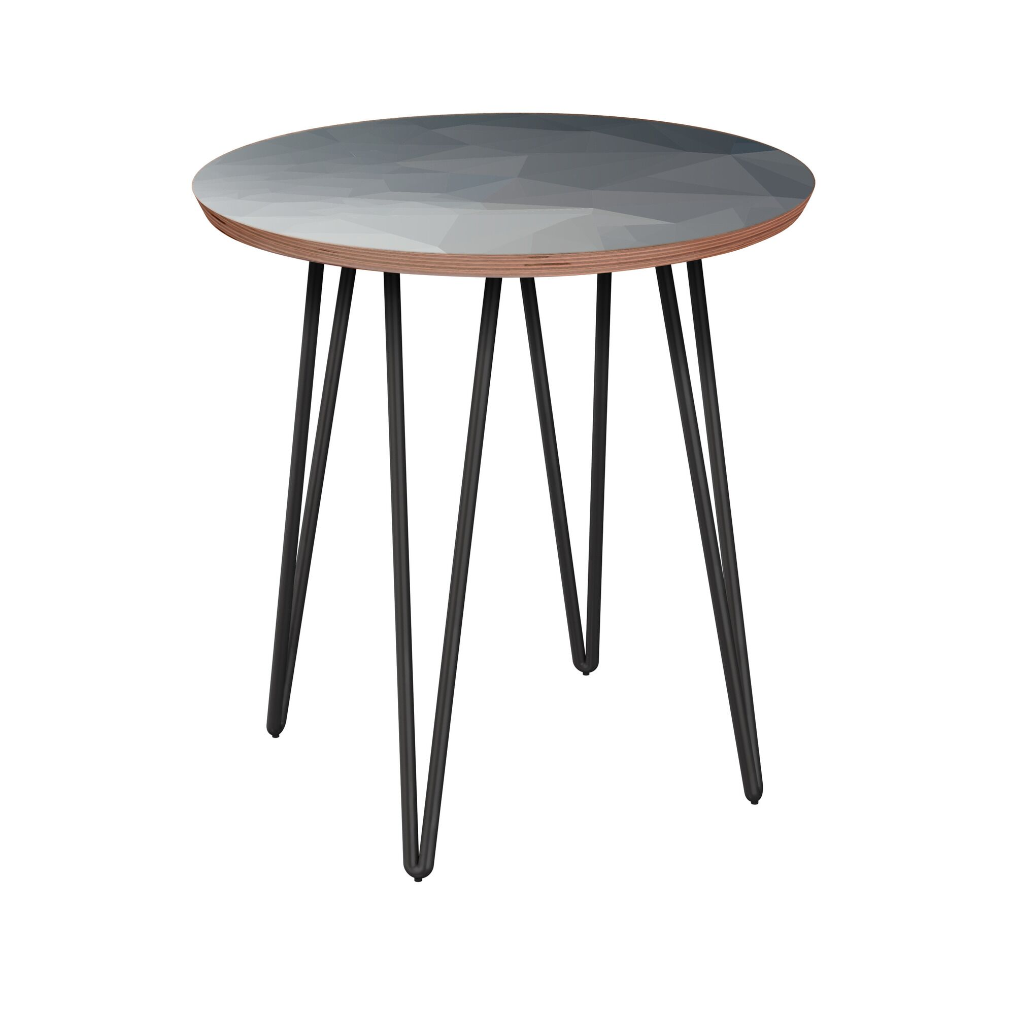 Rauscher End Table Table Base Color: Black, Table Top Boarder Color: Walnut, Table Top Color: Blue