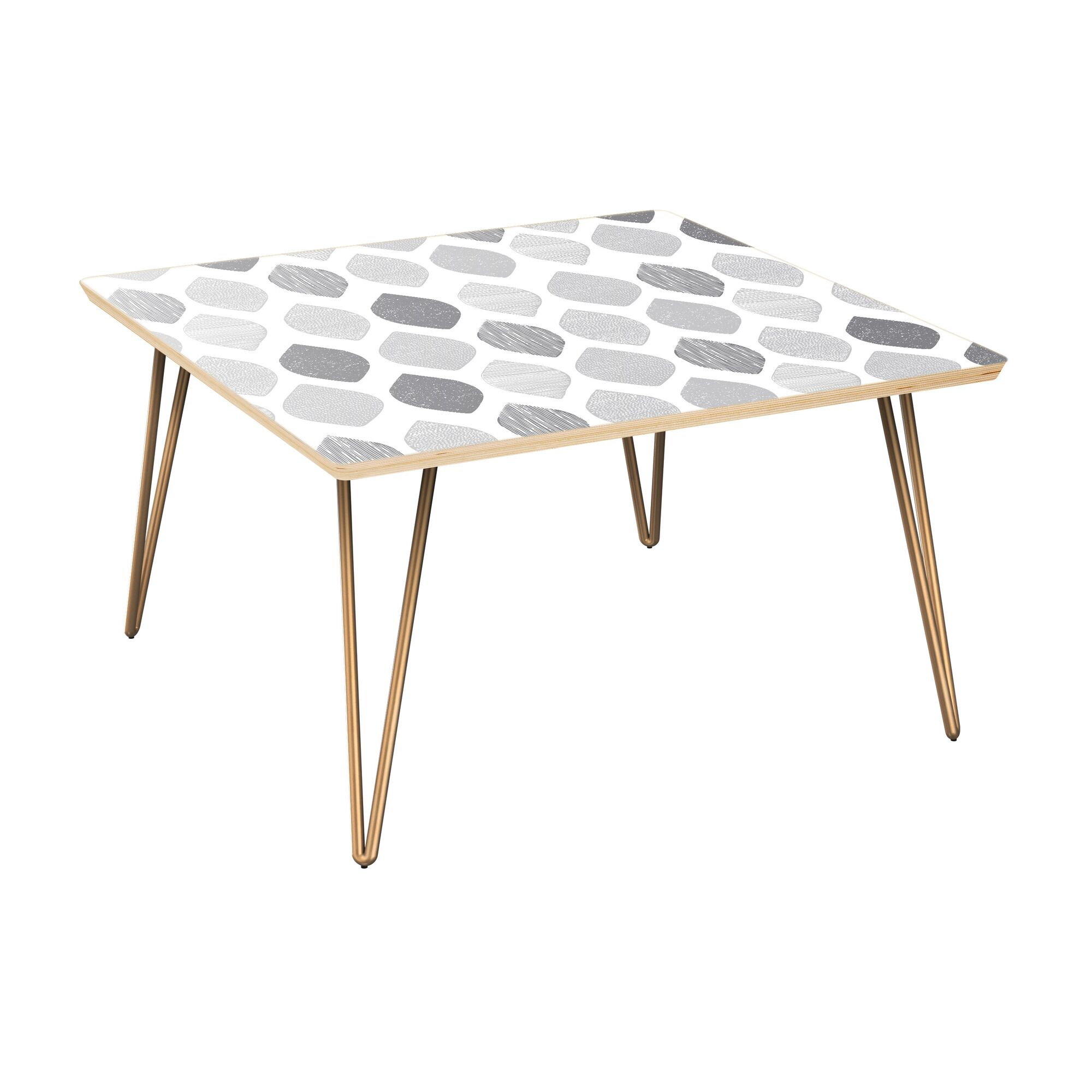 Ingrid Coffee Table Table Top Color: Natural, Table Base Color: Brass