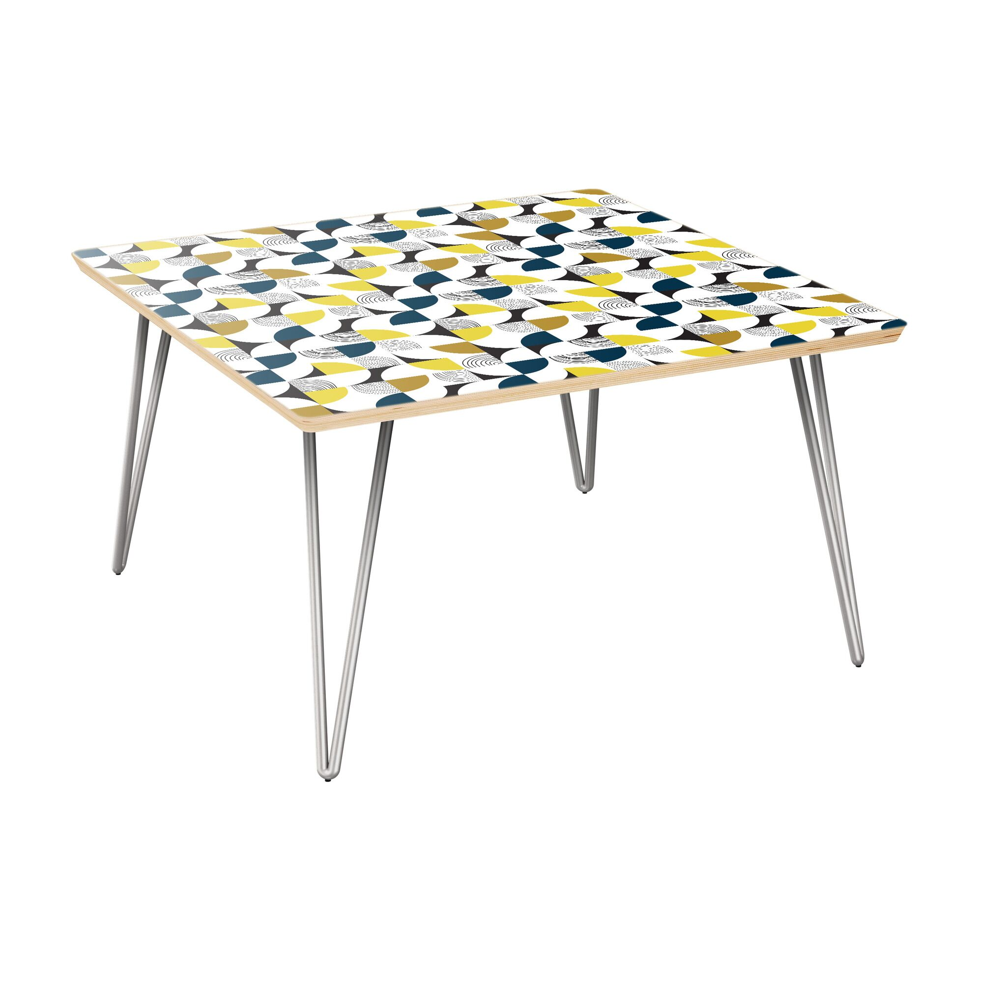 Kyndra Coffee Table Table Top Color: Natural, Table Base Color: Chrome