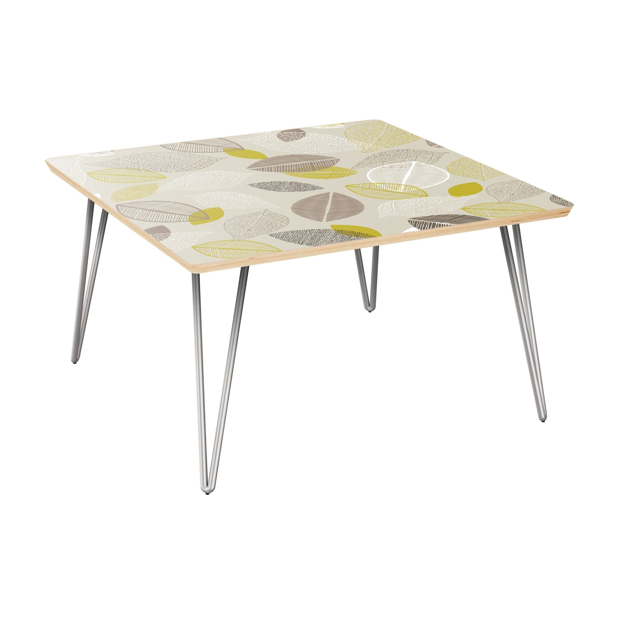 La Mesa Coffee Table Table Top Boarder Color: Natural, Table Base Color: Chrome, Table Top Color: Green/Brown