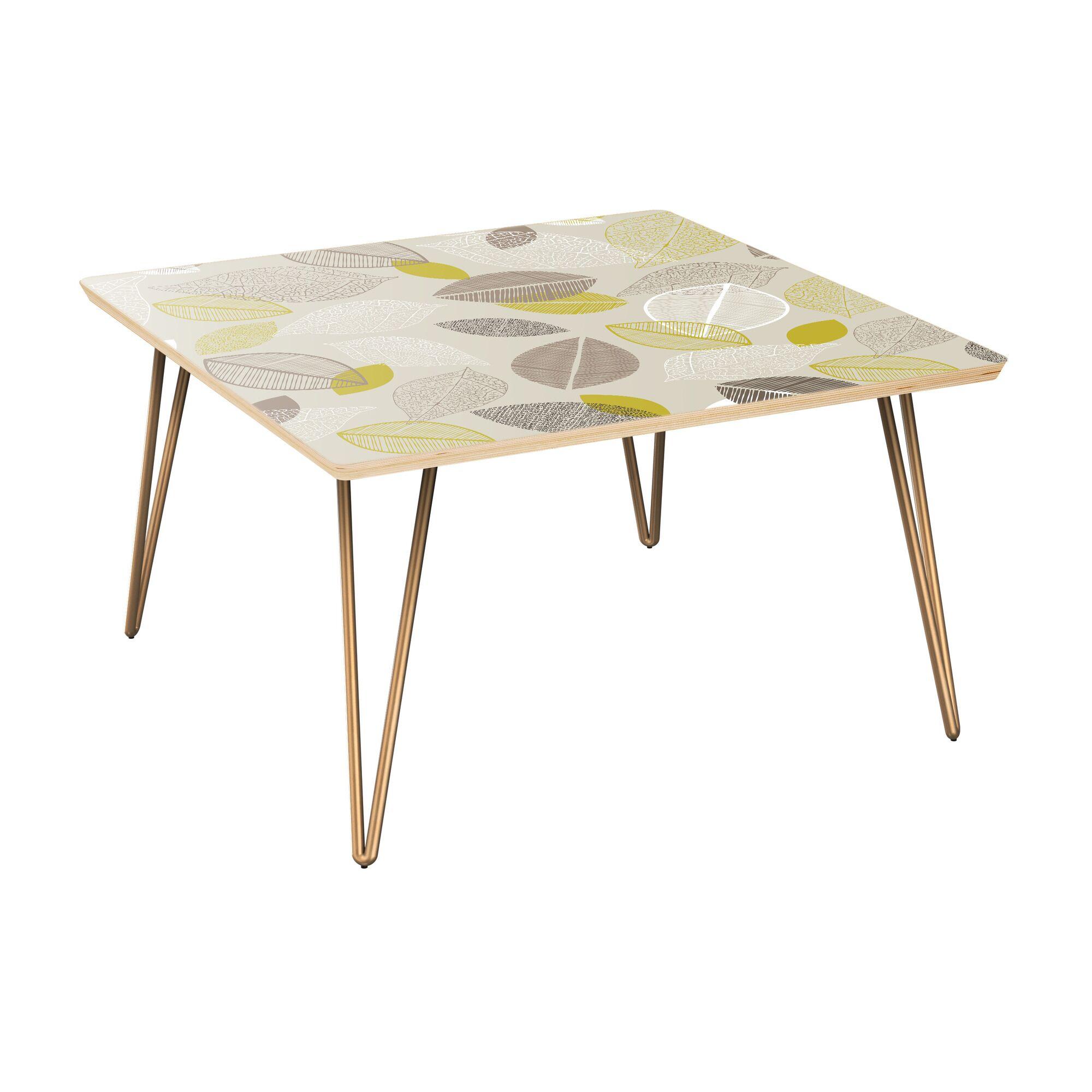 La Mesa Coffee Table Table Top Boarder Color: Natural, Table Base Color: Brass, Table Top Color: Blue