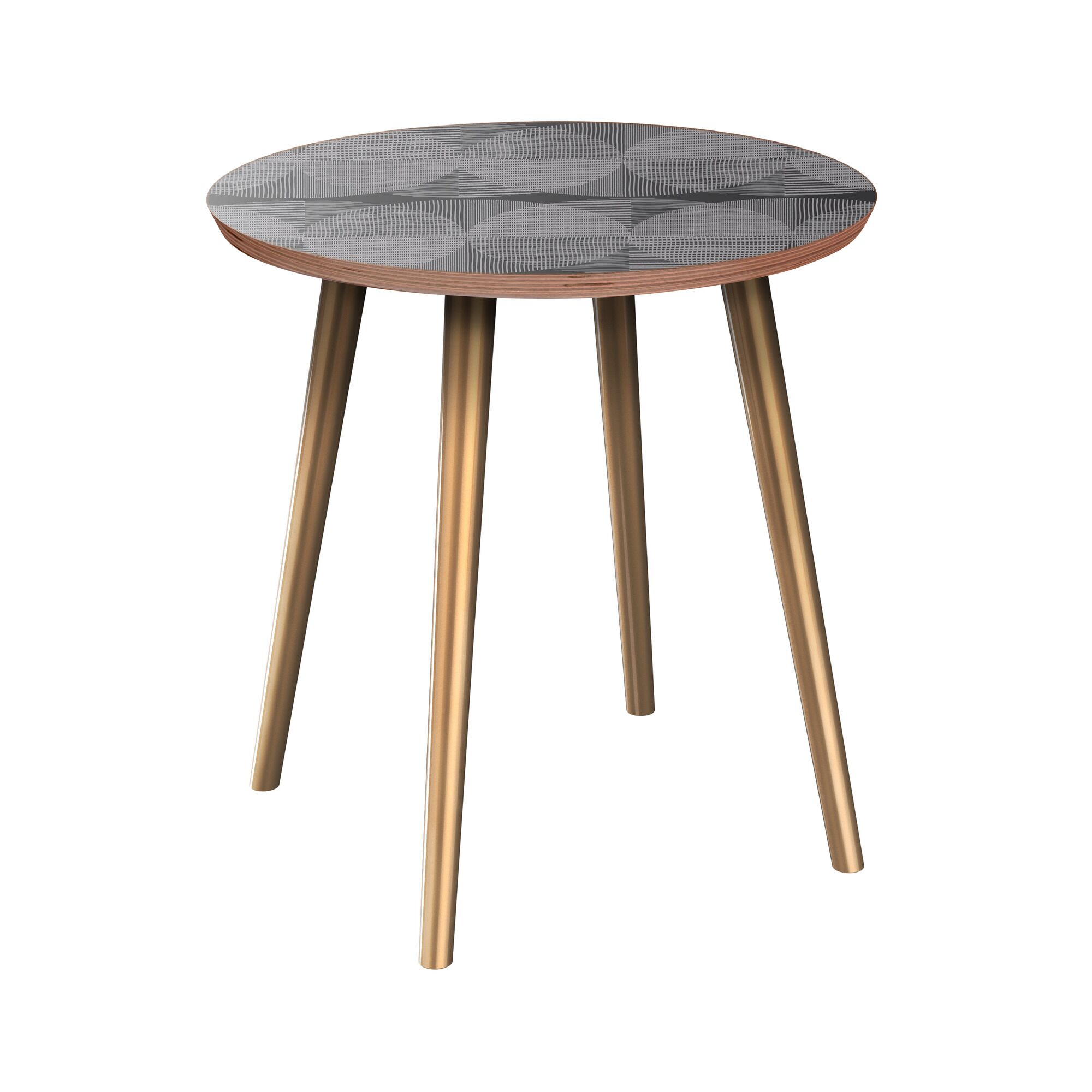 Eustice End Table Table Base Color: Brass, Table Top Color: Walnut