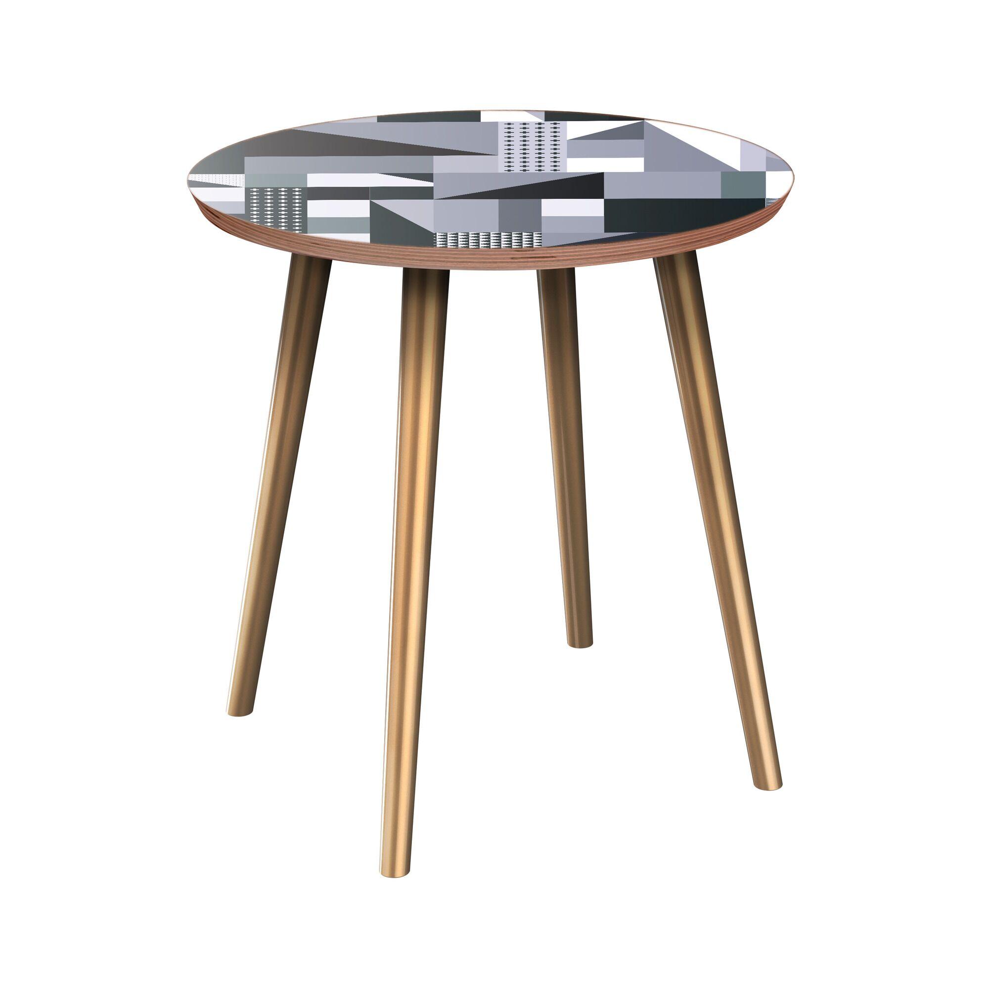 Rhem End Table Table Base Color: Brass, Table Top Color: Walnut