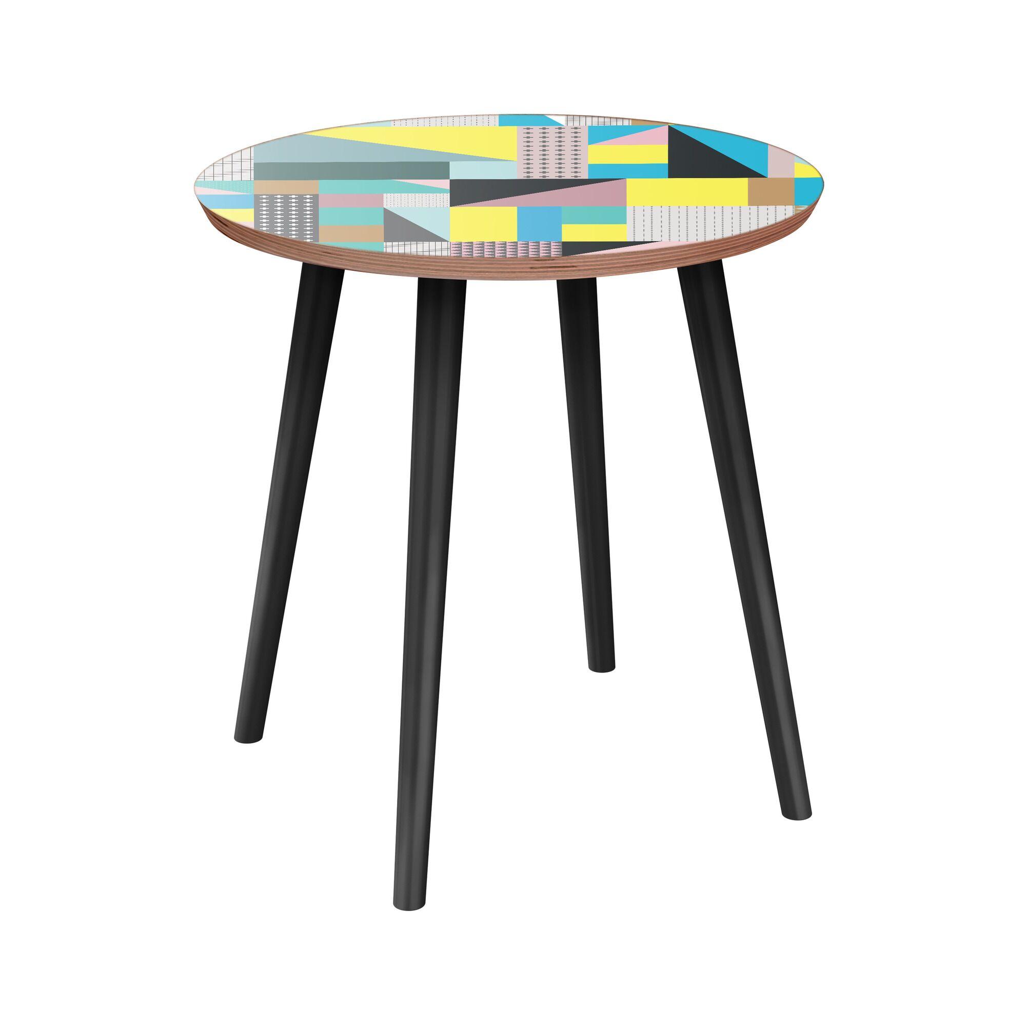 Laila End Table Table Base Color: Black, Table Top Color: Walnut