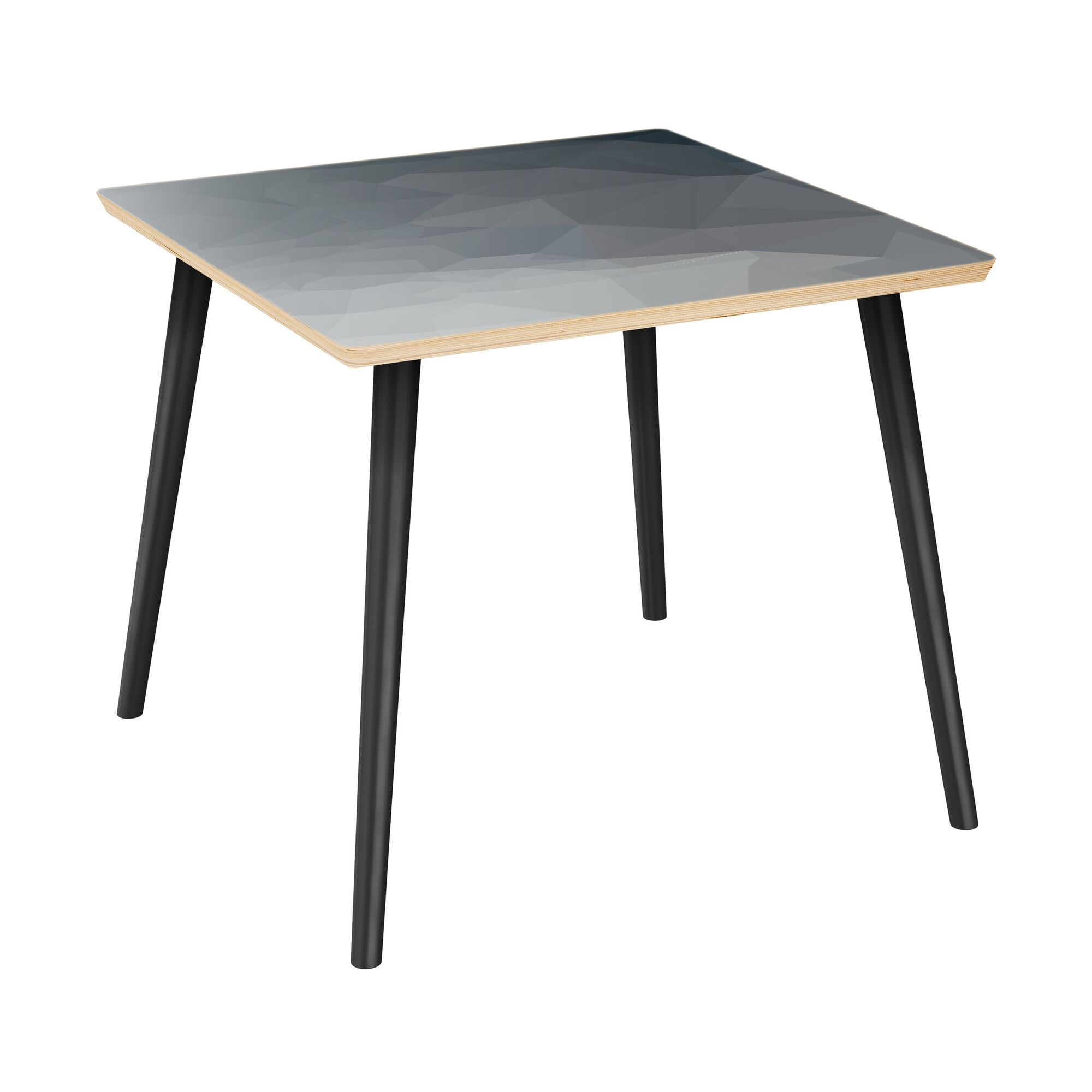 Kylertown End Table Table Top Boarder Color: Natural, Table Base Color: Black, Table Top Color: Blue