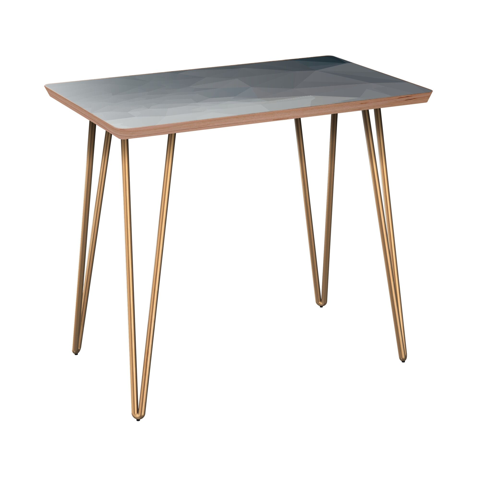 Lake Butler End Table Table Base Color: Brass, Table Top Boarder Color: Walnut, Table Top Color: Blue