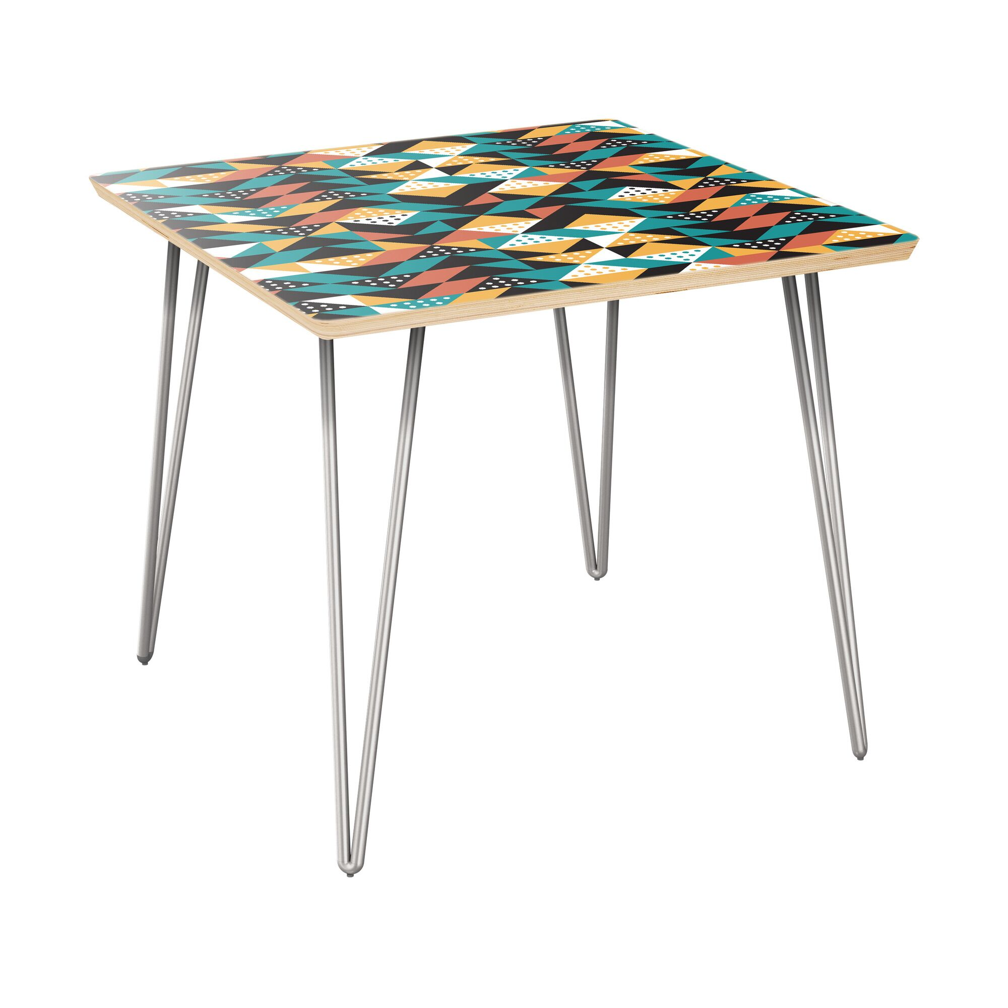 Arbuckle End Table Table Top Color: Natural, Table Base Color: Chrome