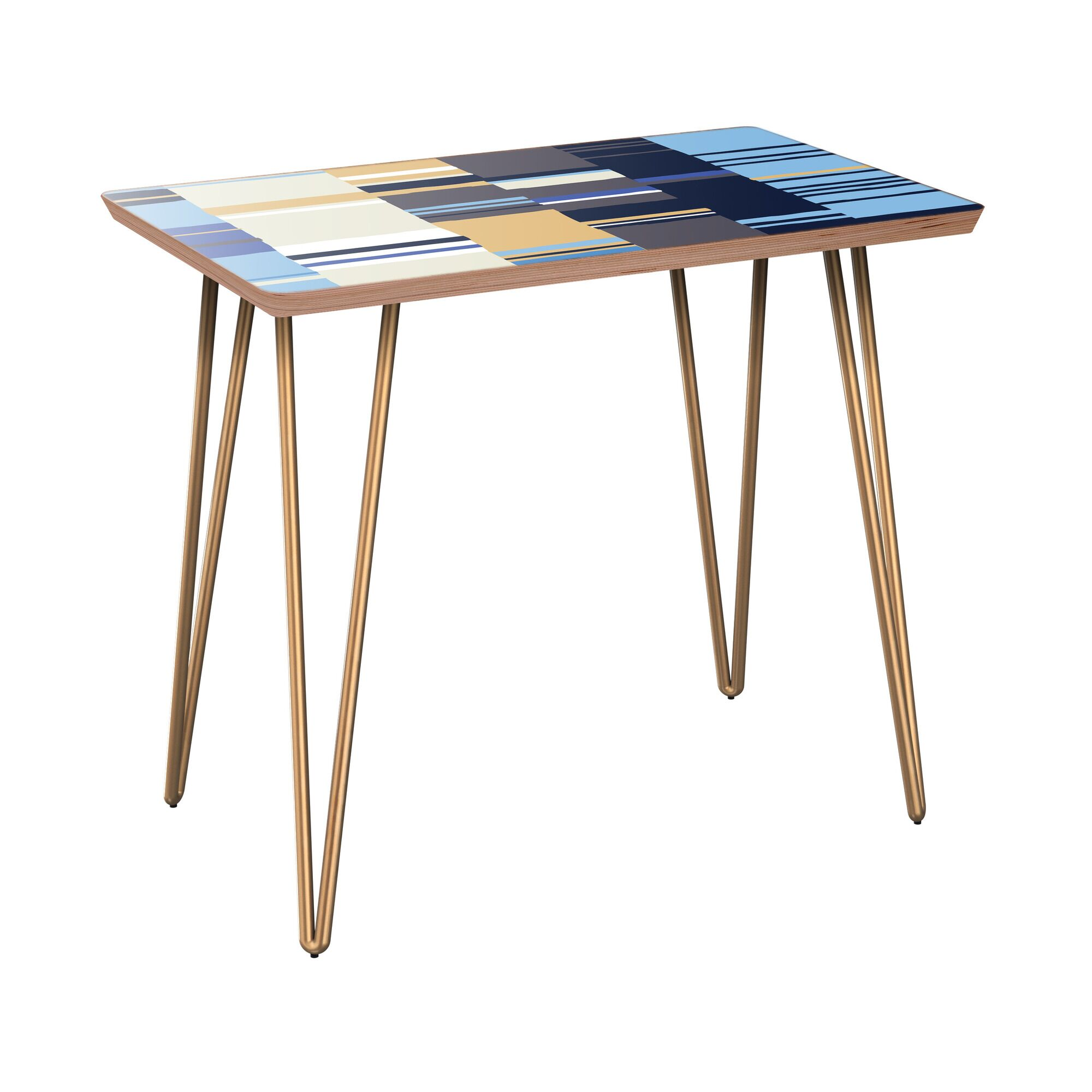 Kilraghts End Table Table Base Color: Brass, Table Top Color: Walnut