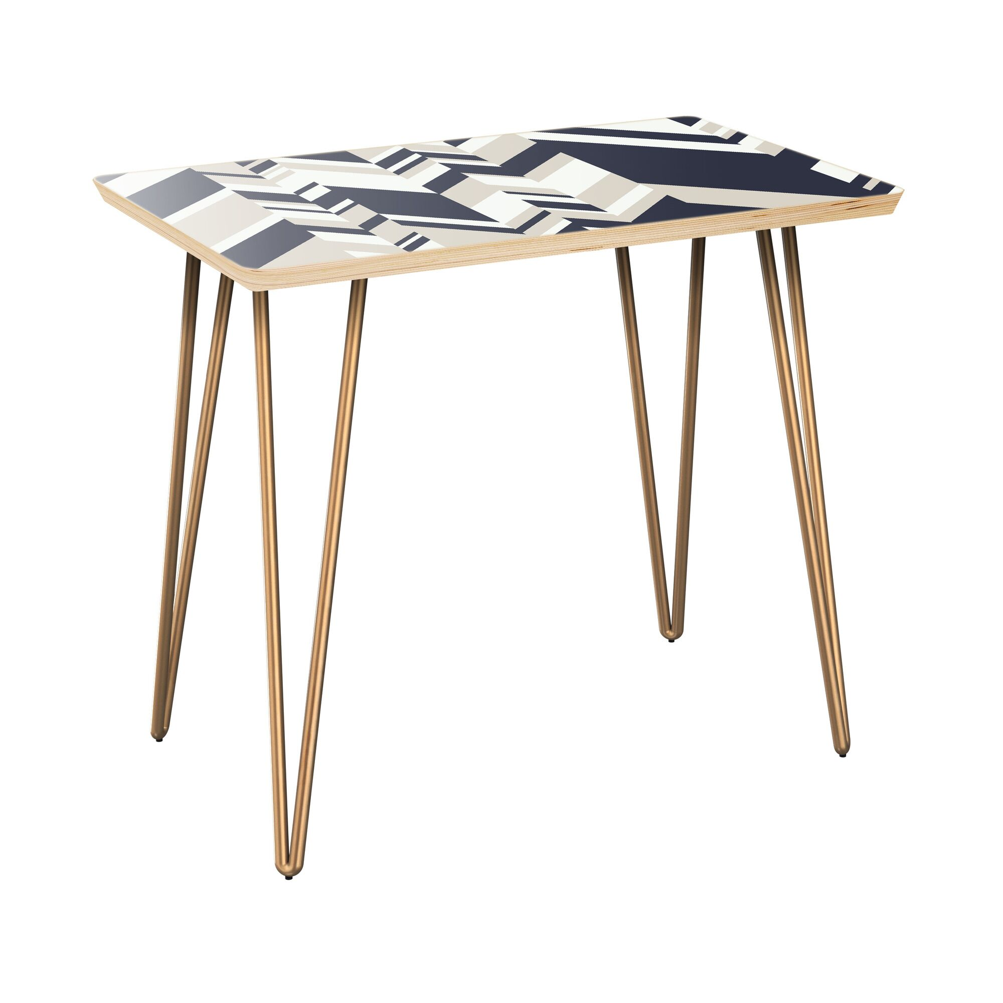 Howes End Table Table Top Color: Natural, Table Base Color: Brass