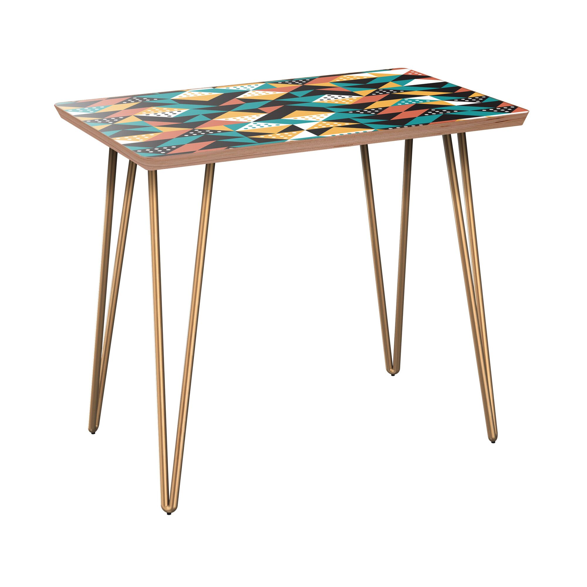 Appaloosa End Table Table Top Color: Walnut, Table Base Color: Brass