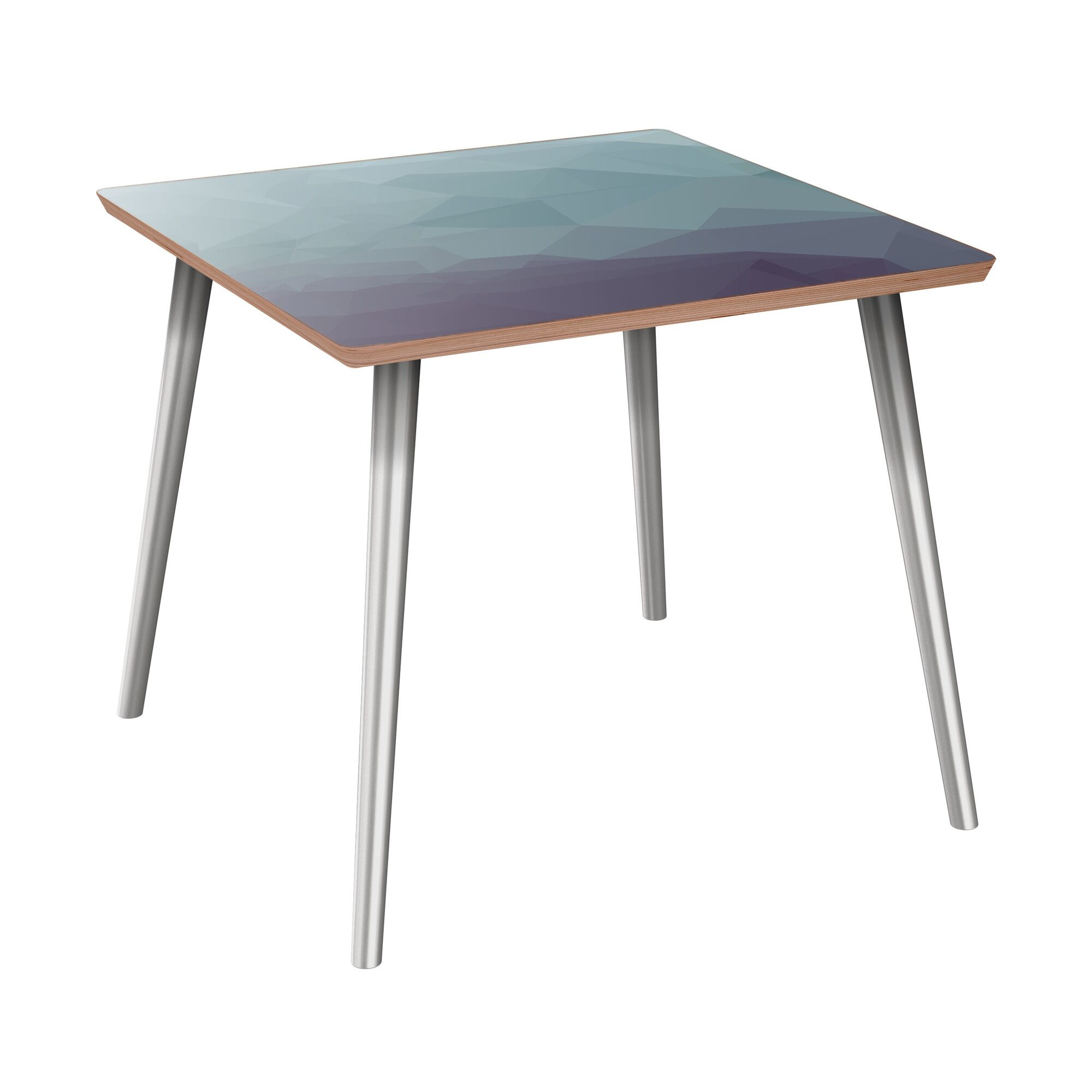 Kylertown End Table Table Base Color: Chrome, Table Top Boarder Color: Walnut, Table Top Color: Blue