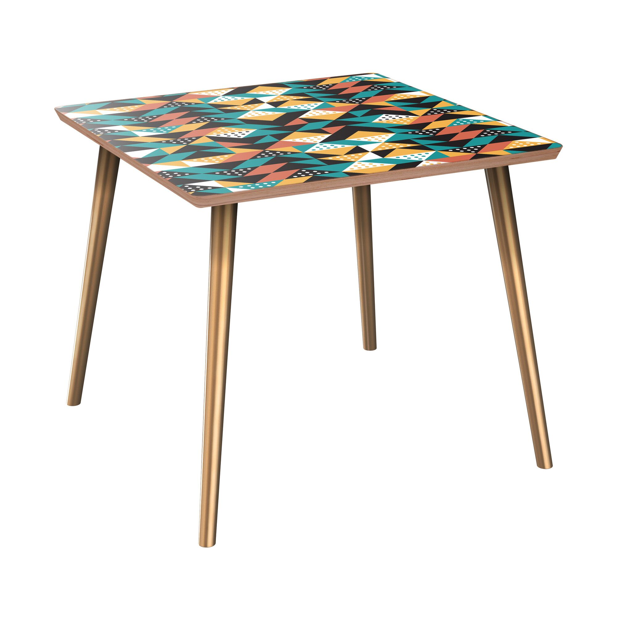 Applebaum End Table Table Base Color: Brass, Table Top Color: Walnut