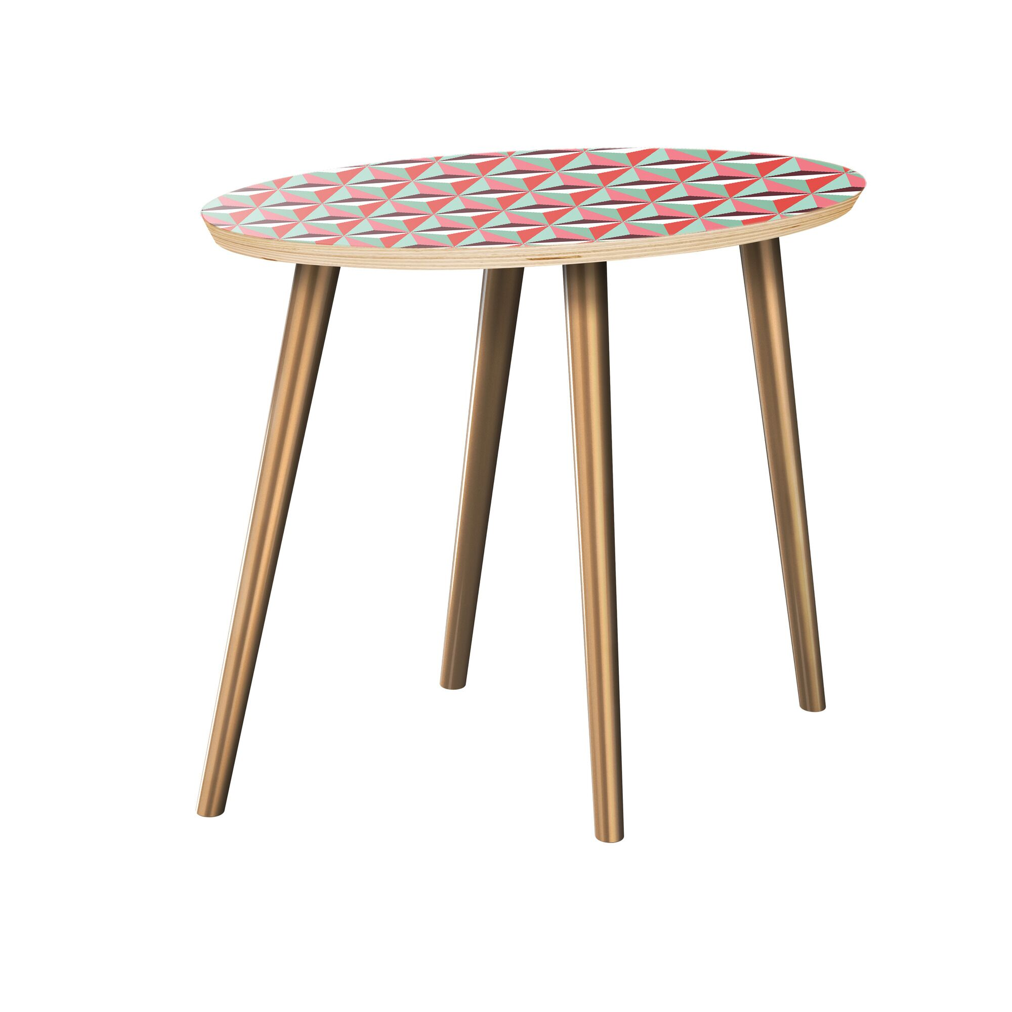 Rhone End Table Table Top Color: Natural, Table Base Color: Brass