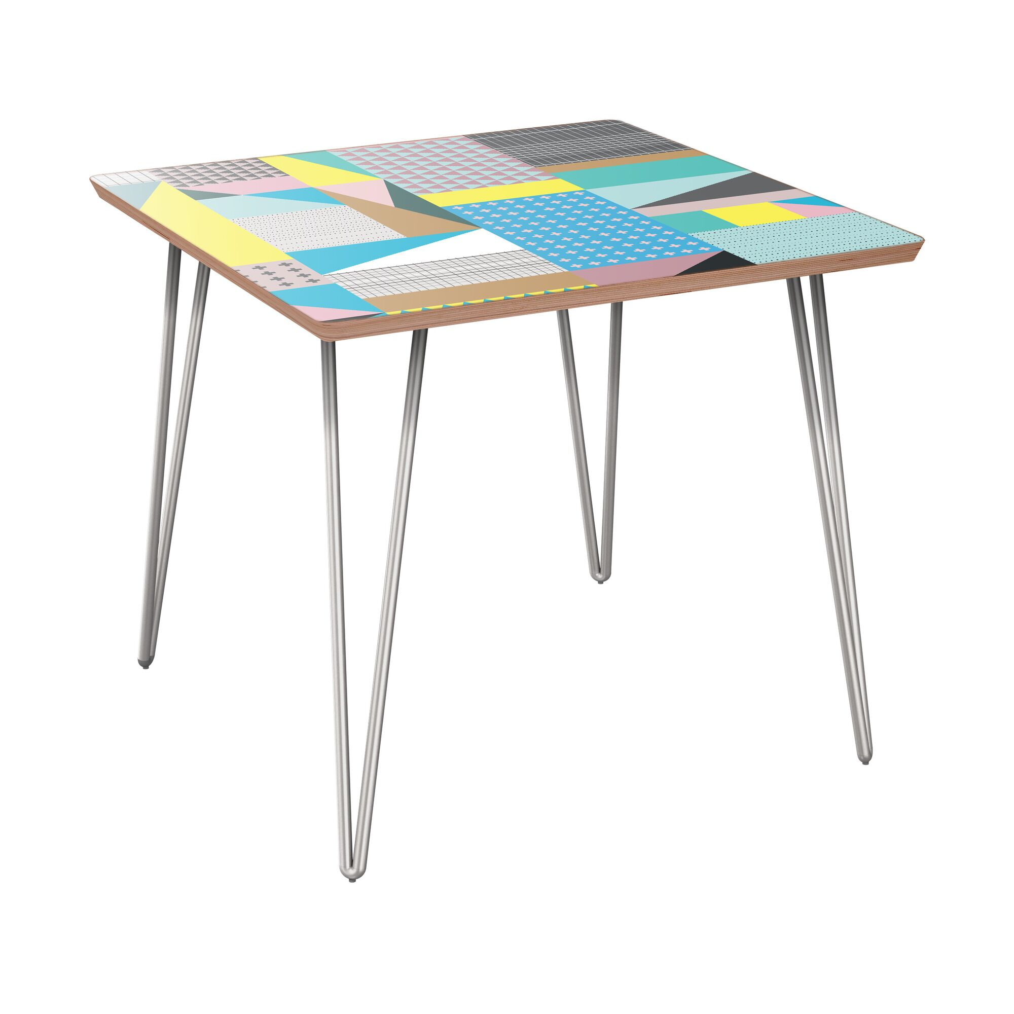 Schueler End Table Table Base Color: Chrome, Table Top Color: Walnut