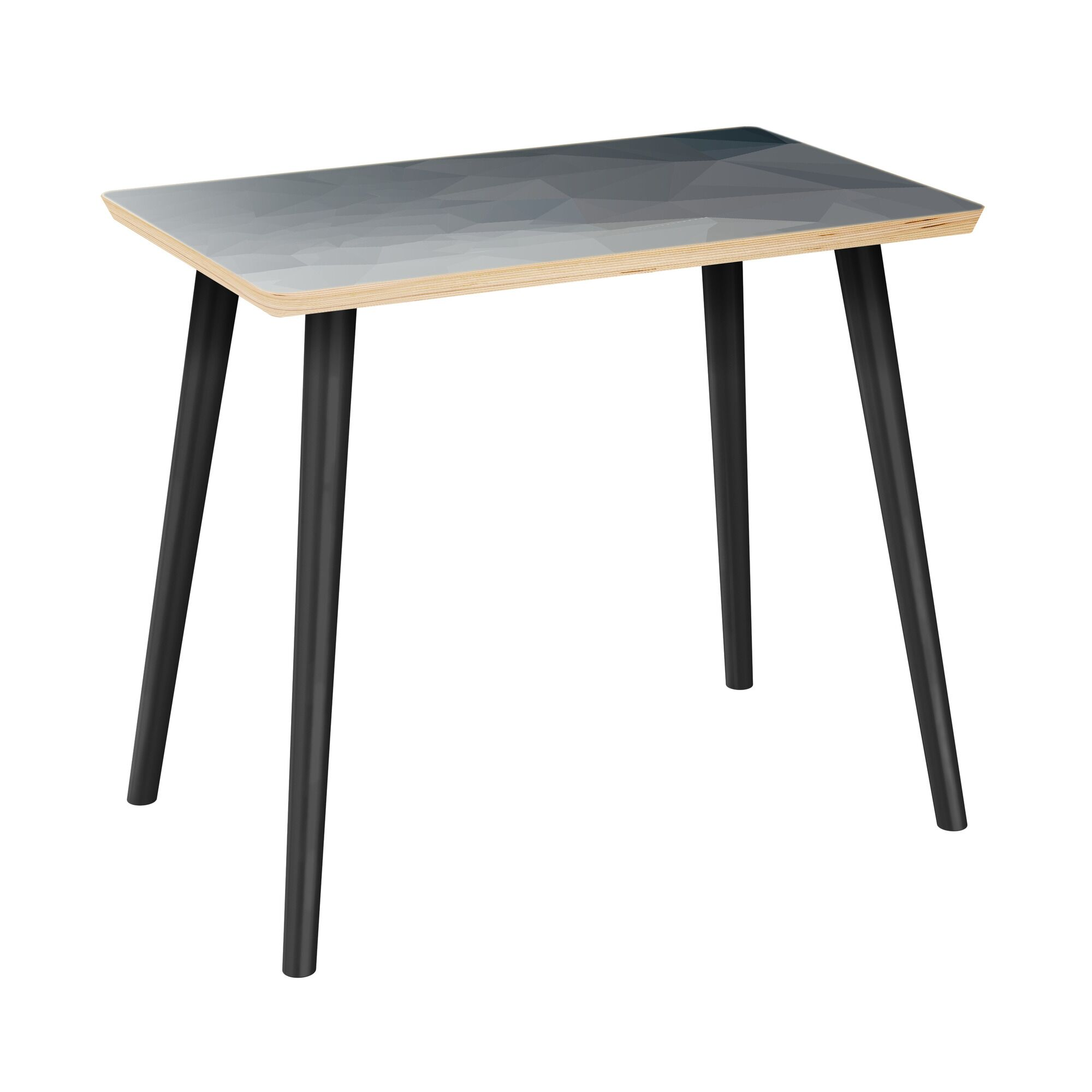 Lake Park End Table Table Top Boarder Color: Natural, Table Base Color: Black, Table Top Color: Blue