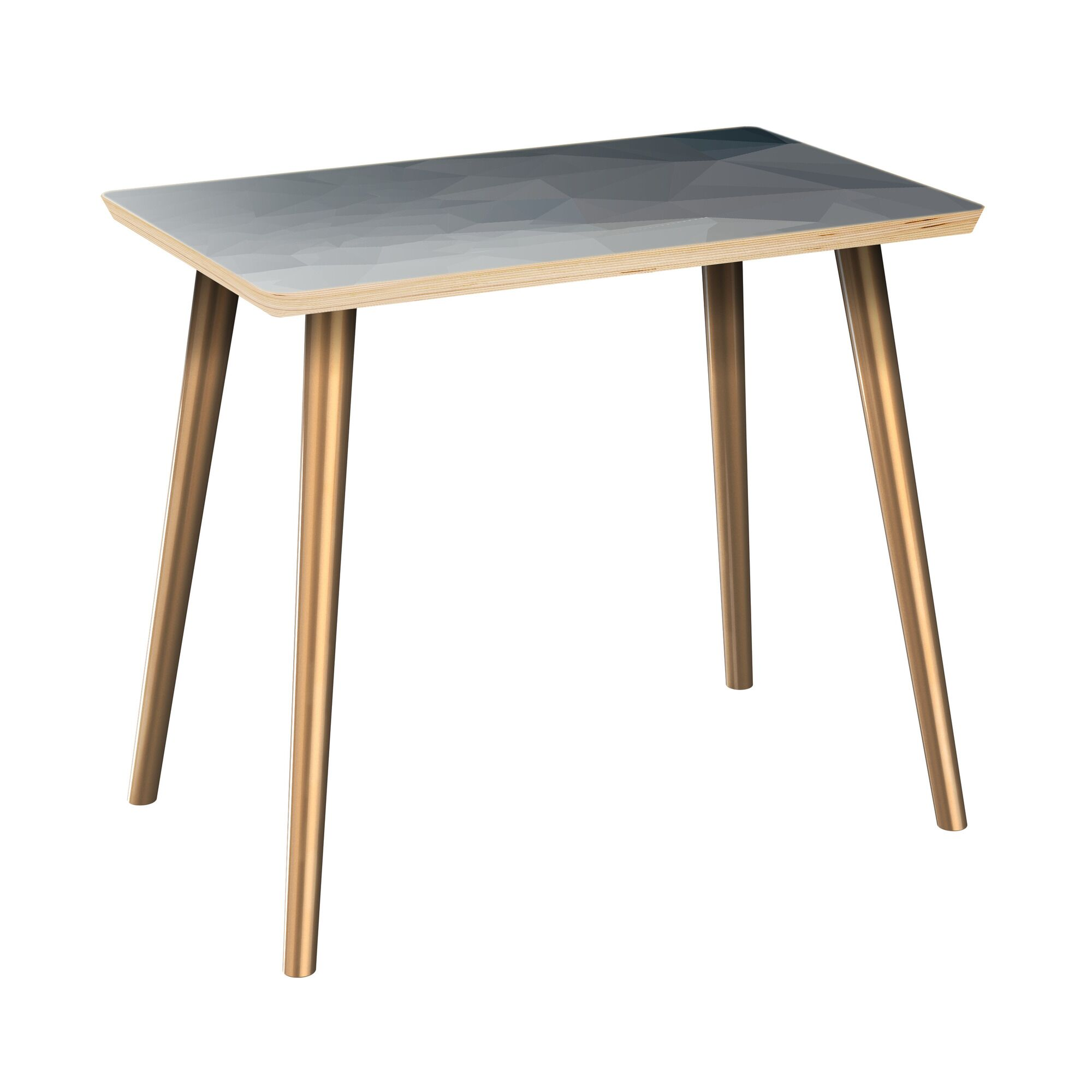 Lake Park End Table Table Top Boarder Color: Natural, Table Base Color: Brass, Table Top Color: Blue