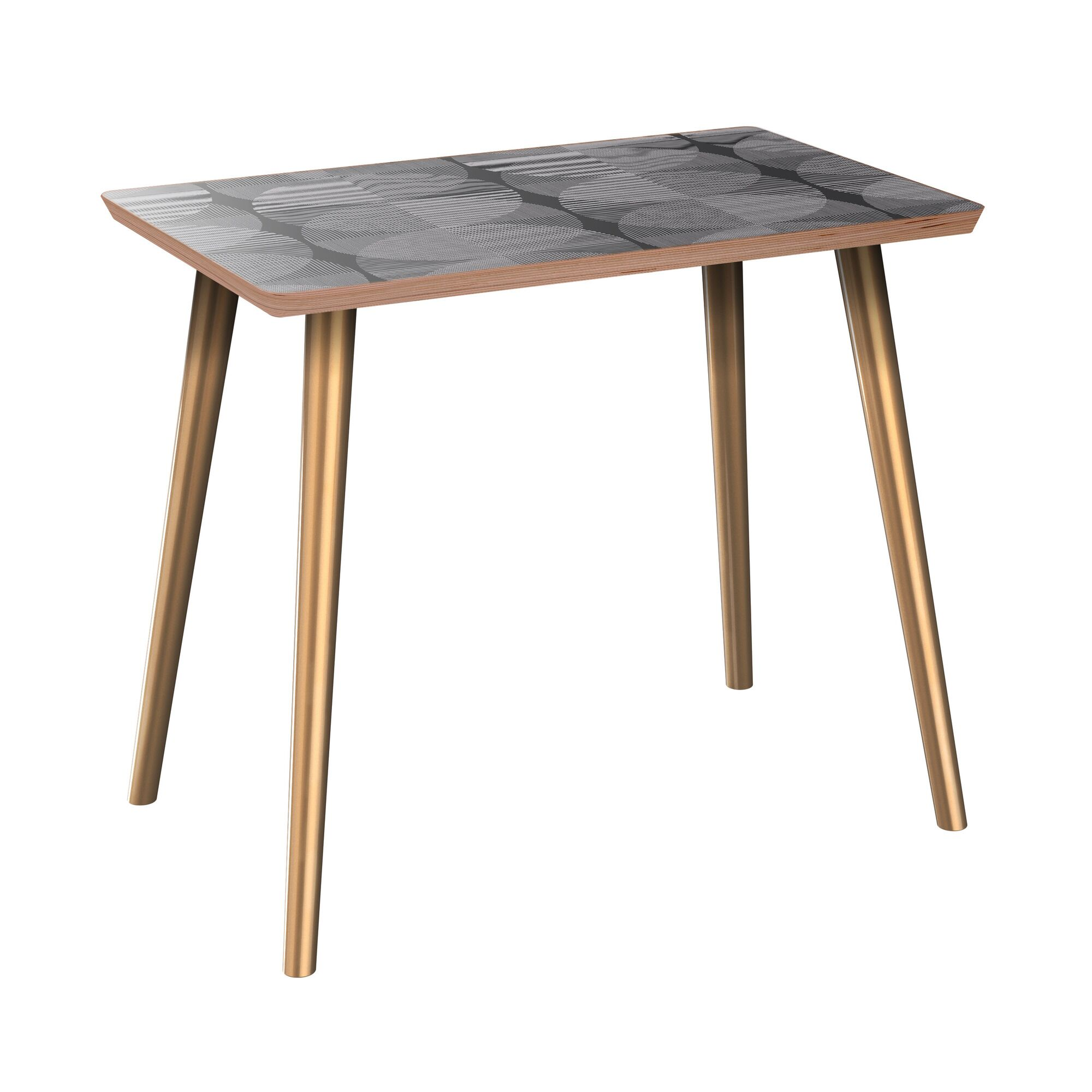 Evangelista End Table Table Base Color: Brass, Table Top Color: Walnut