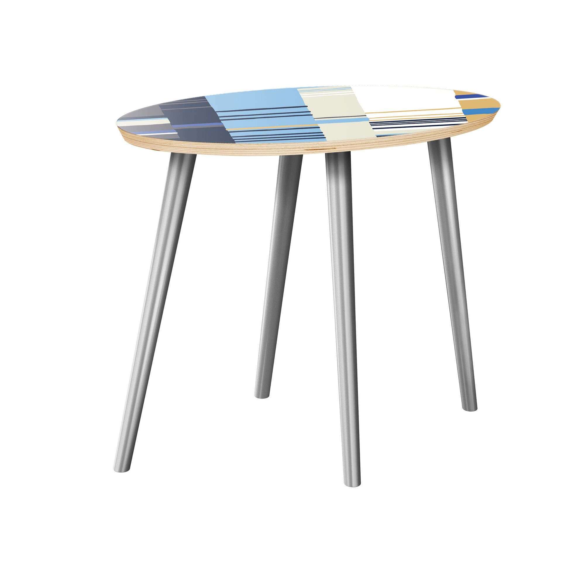 Lakesha End Table Table Top Color: Natural, Table Base Color: Chrome
