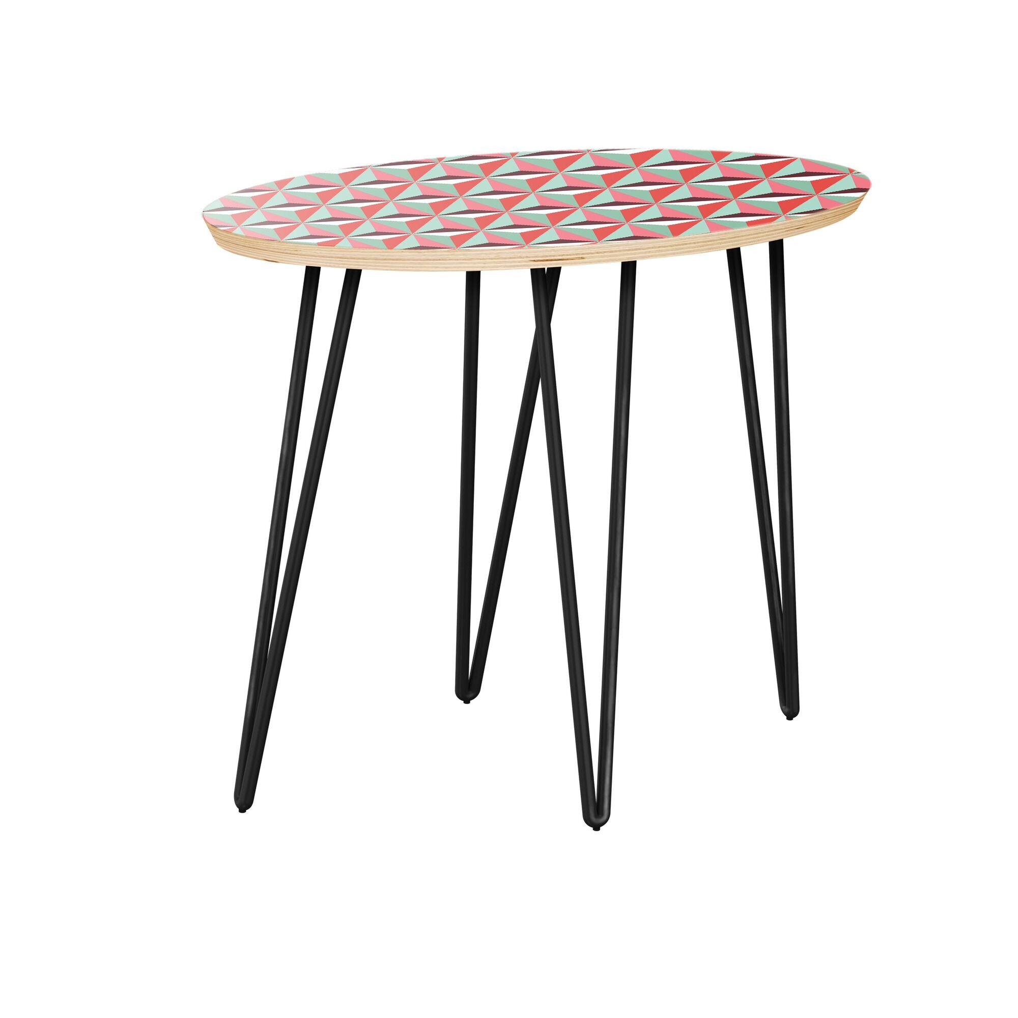 Lakeshia End Table Table Top Color: Natural, Table Base Color: Black