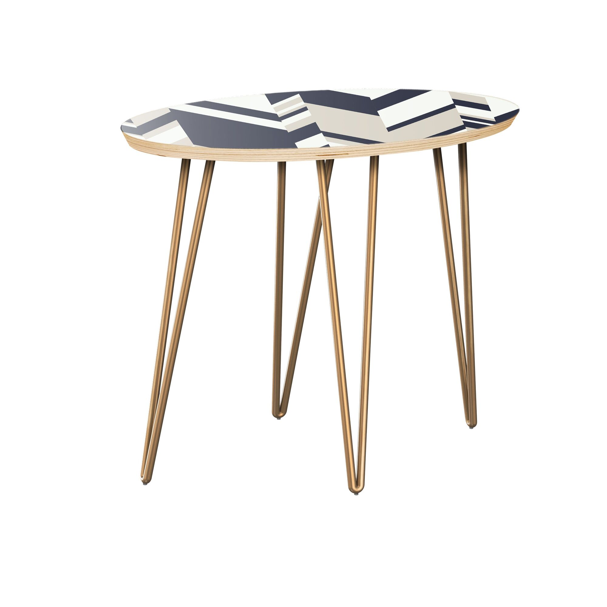 Gallion End Table Table Top Color: Natural, Table Base Color: Brass