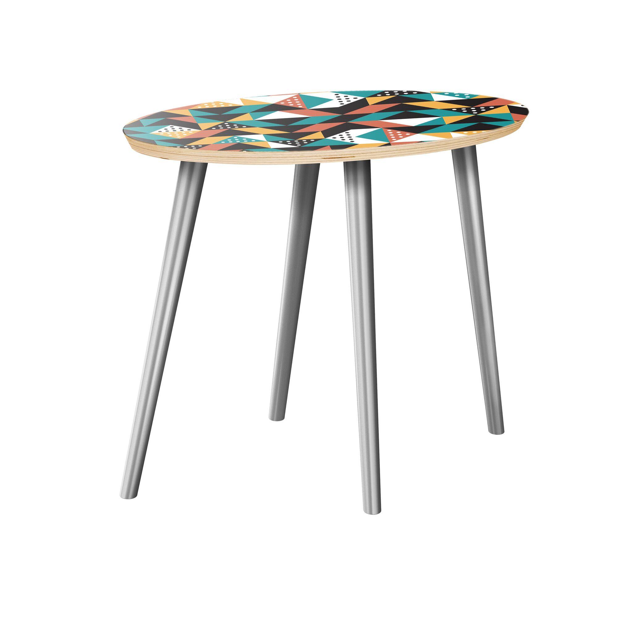 Arcelia End Table Table Top Color: Natural, Table Base Color: Chrome