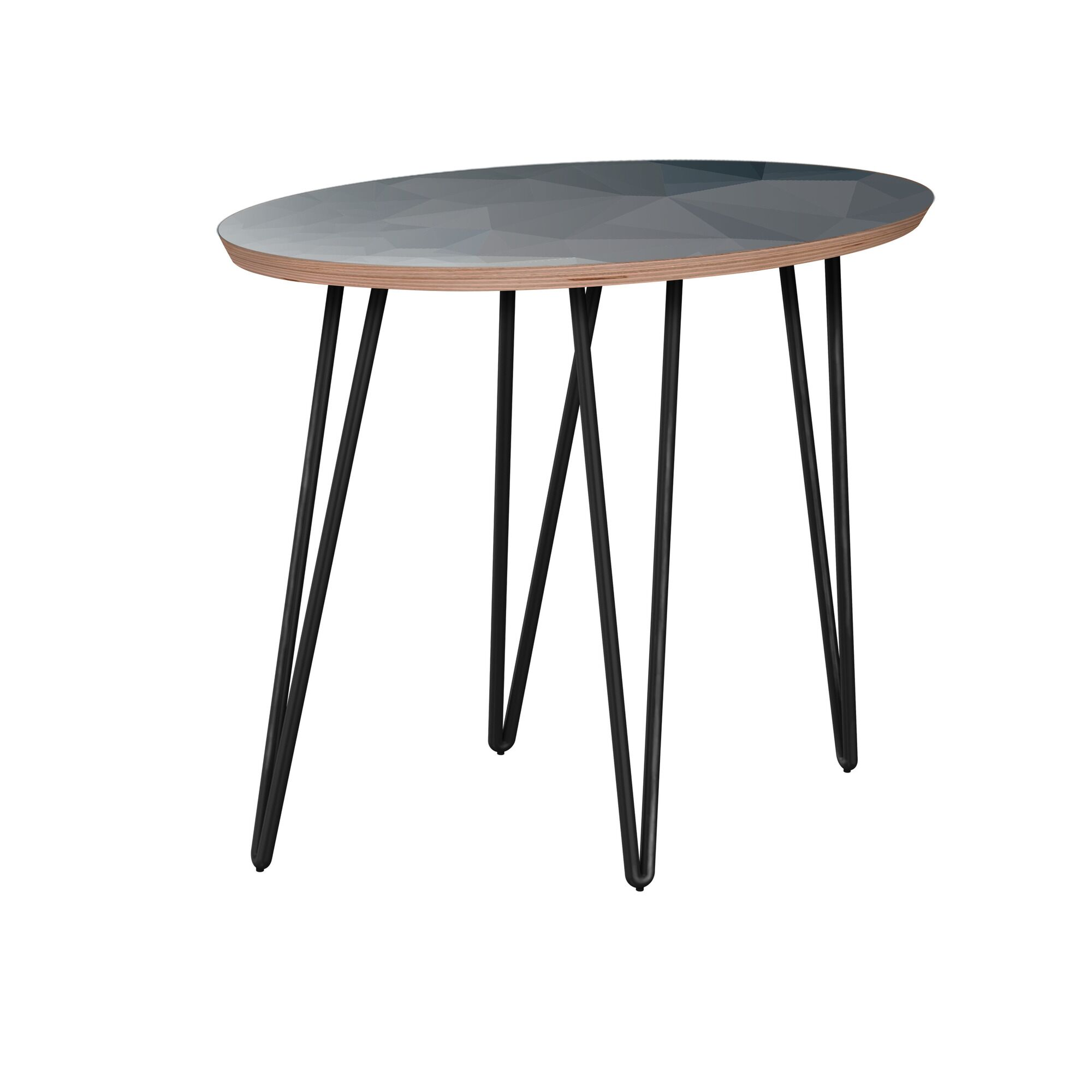 Rhoton End Table Table Base Color: Black, Table Top Boarder Color: Walnut, Table Top Color: Blue