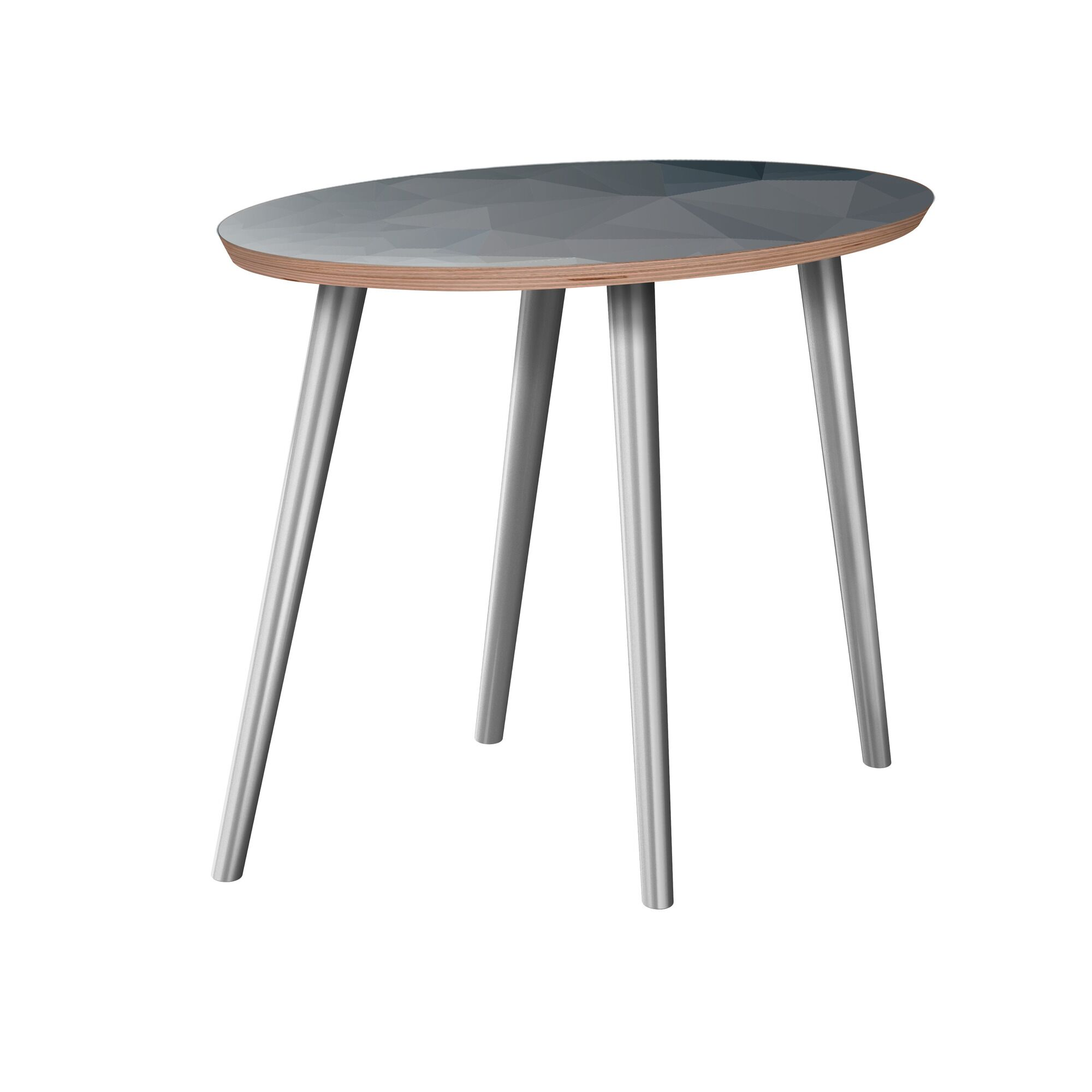 Rhymer End Table Table Base Color: Chrome, Table Top Boarder Color: Walnut, Table Top Color: Blue