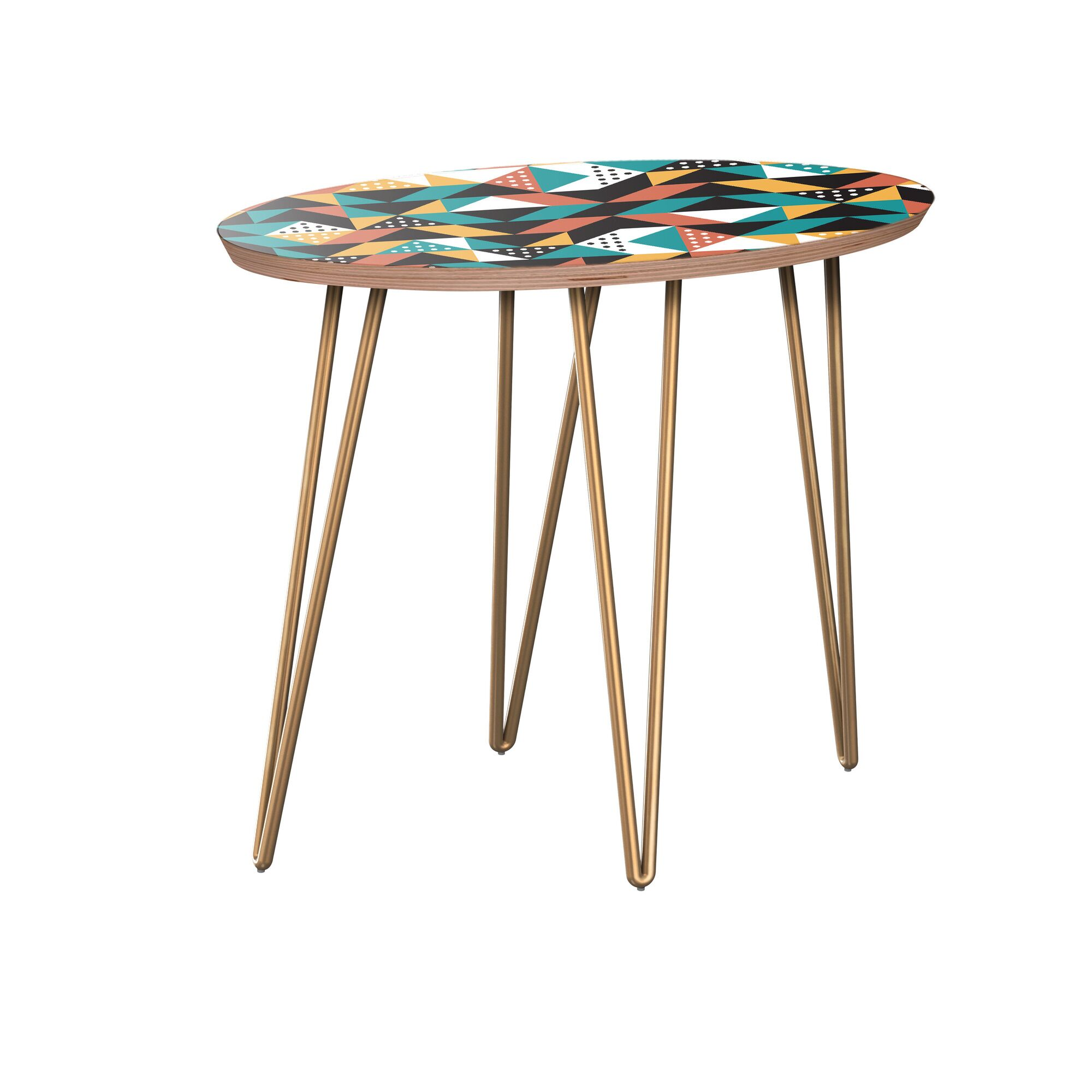 Arbus End Table Table Base Color: Brass, Table Top Color: Walnut