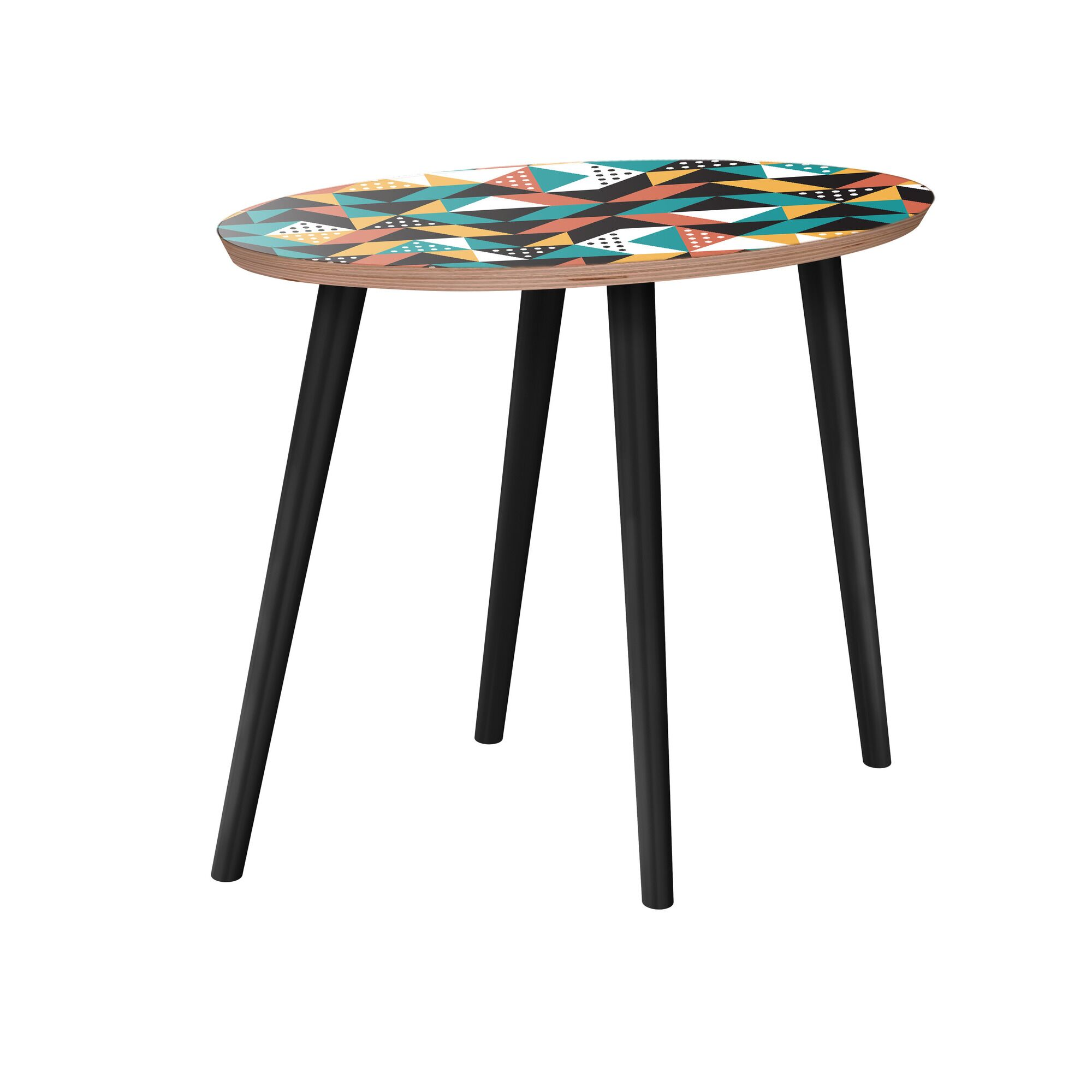Arcelia End Table Table Base Color: Black, Table Top Color: Walnut