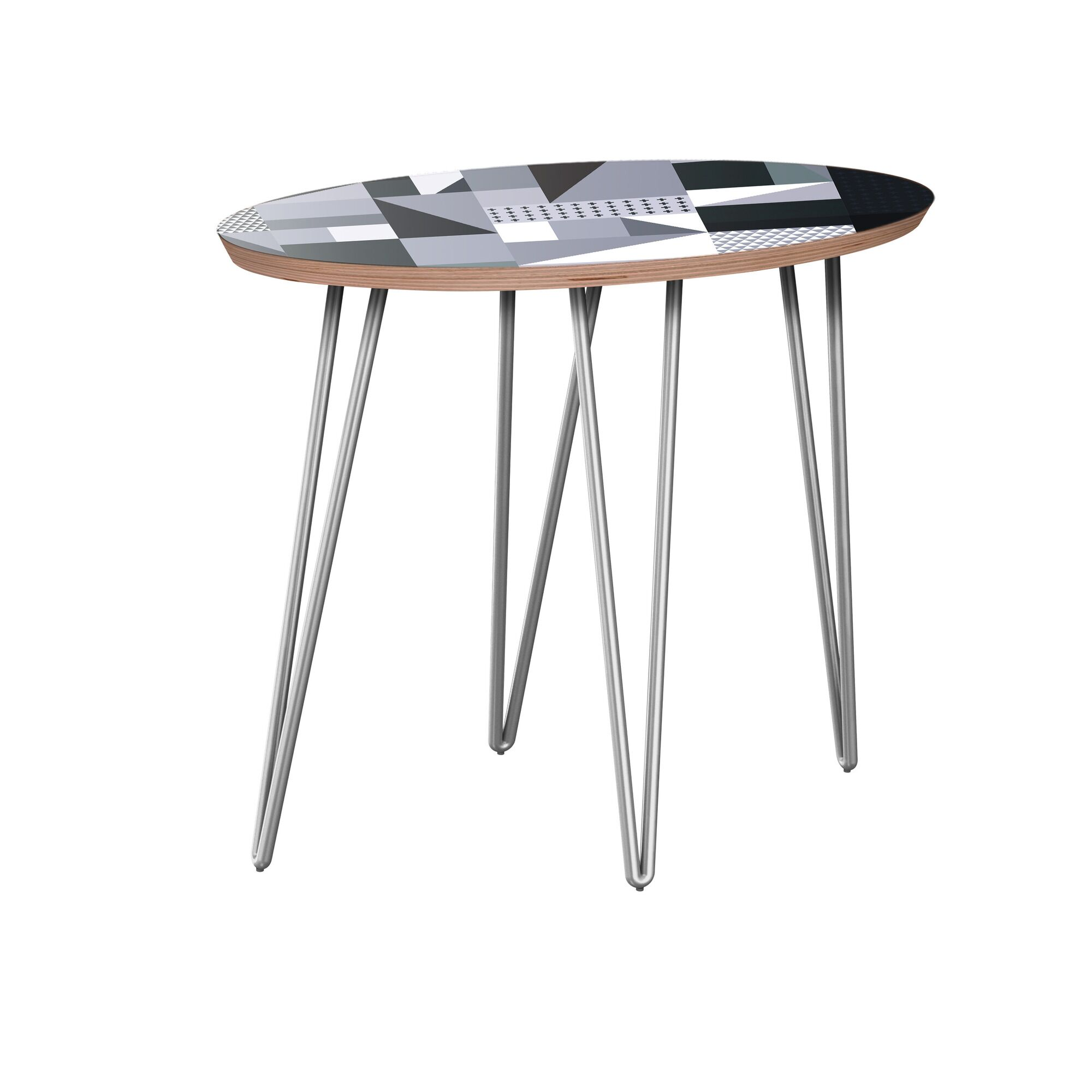 Hudson Yards End Table Table Base Color: Chrome, Table Top Color: Walnut
