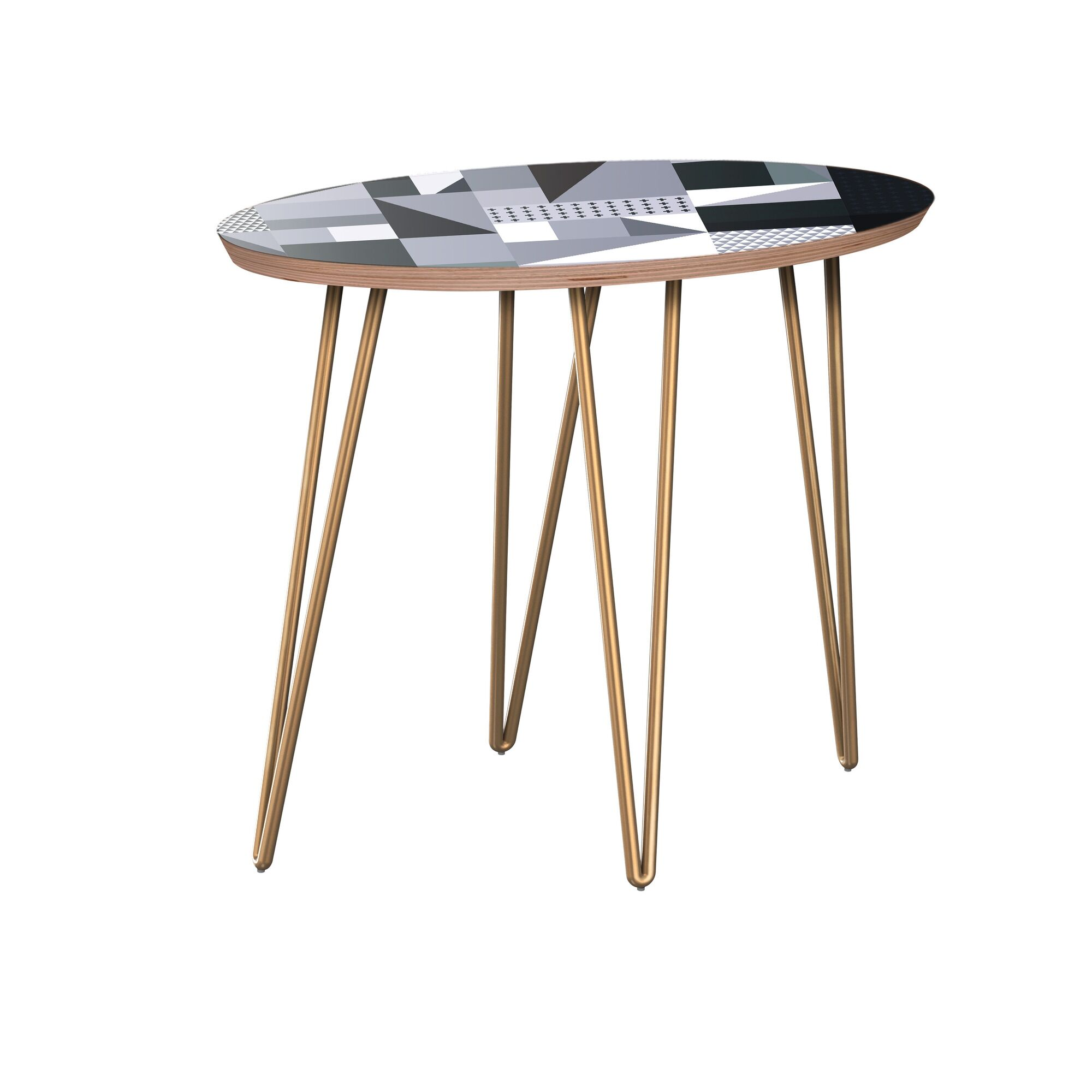 Hudson Yards End Table Table Base Color: Brass, Table Top Color: Walnut