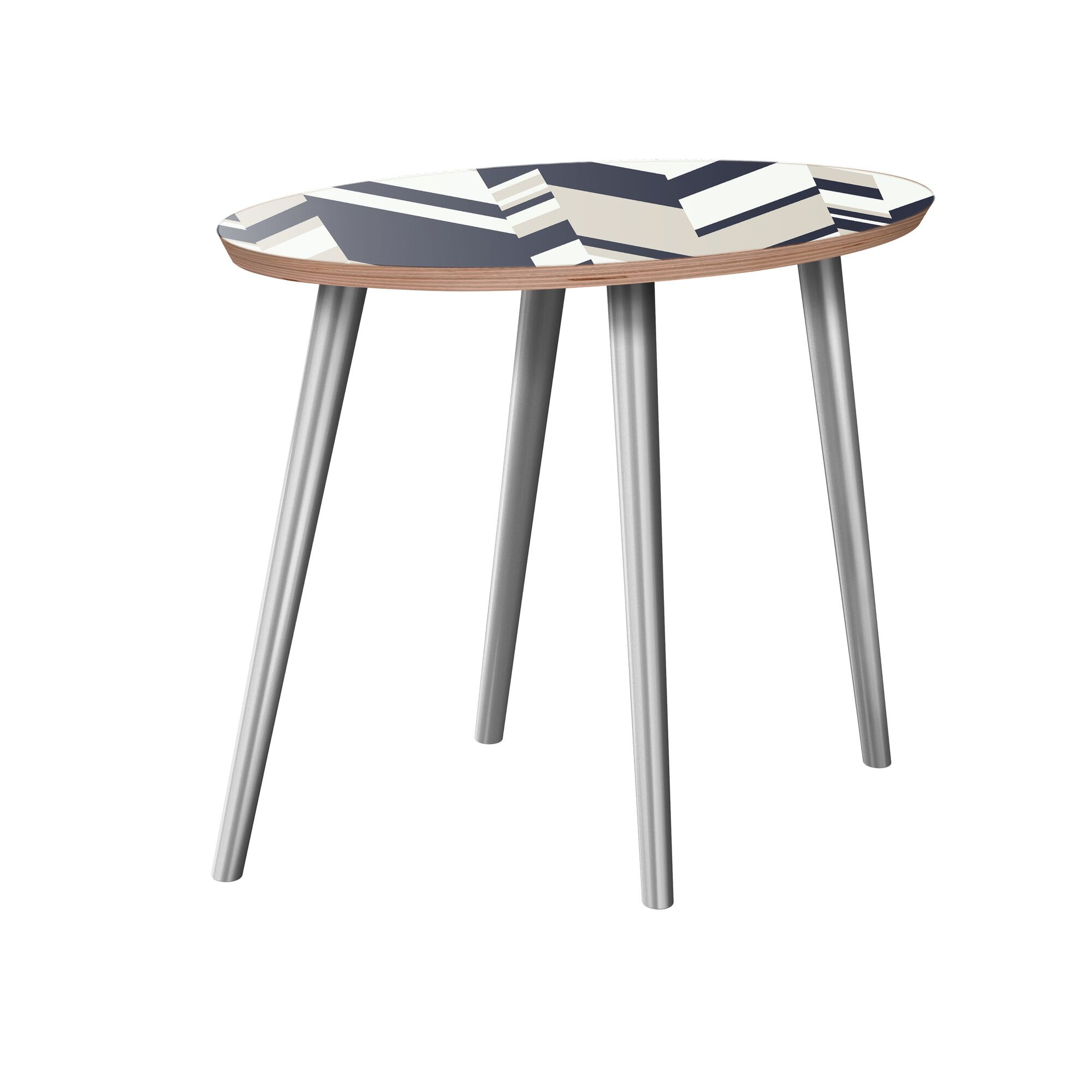 Gallman End Table Table Base Color: Chrome, Table Top Color: Walnut