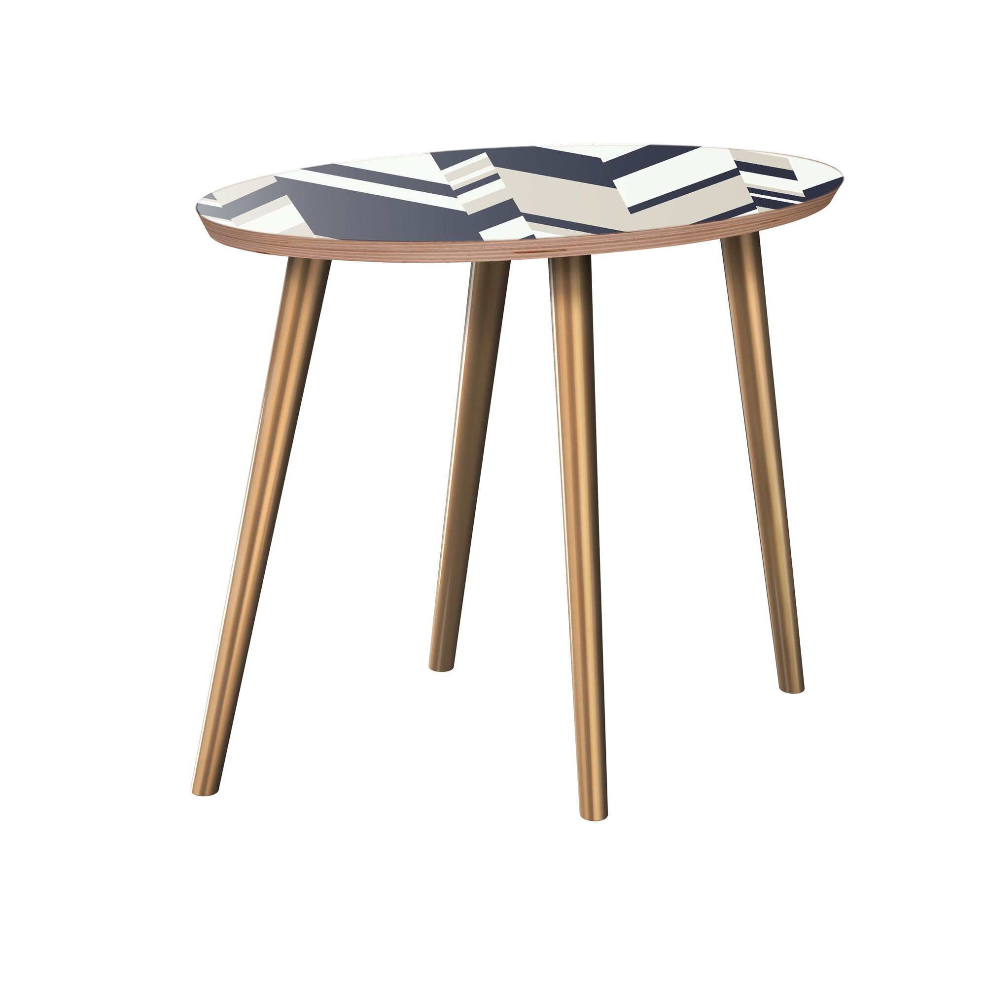 Gallman End Table Table Base Color: Brass, Table Top Color: Walnut