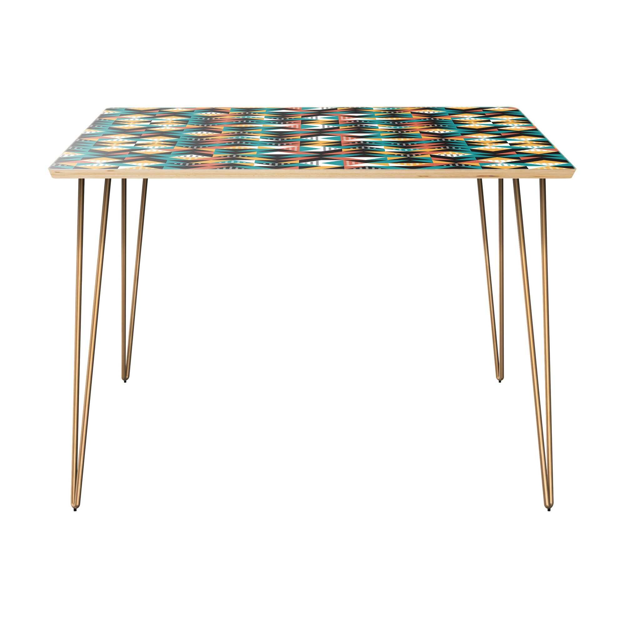 Reich Dining Table Table Top Color: Natural, Table Base Color: Brass