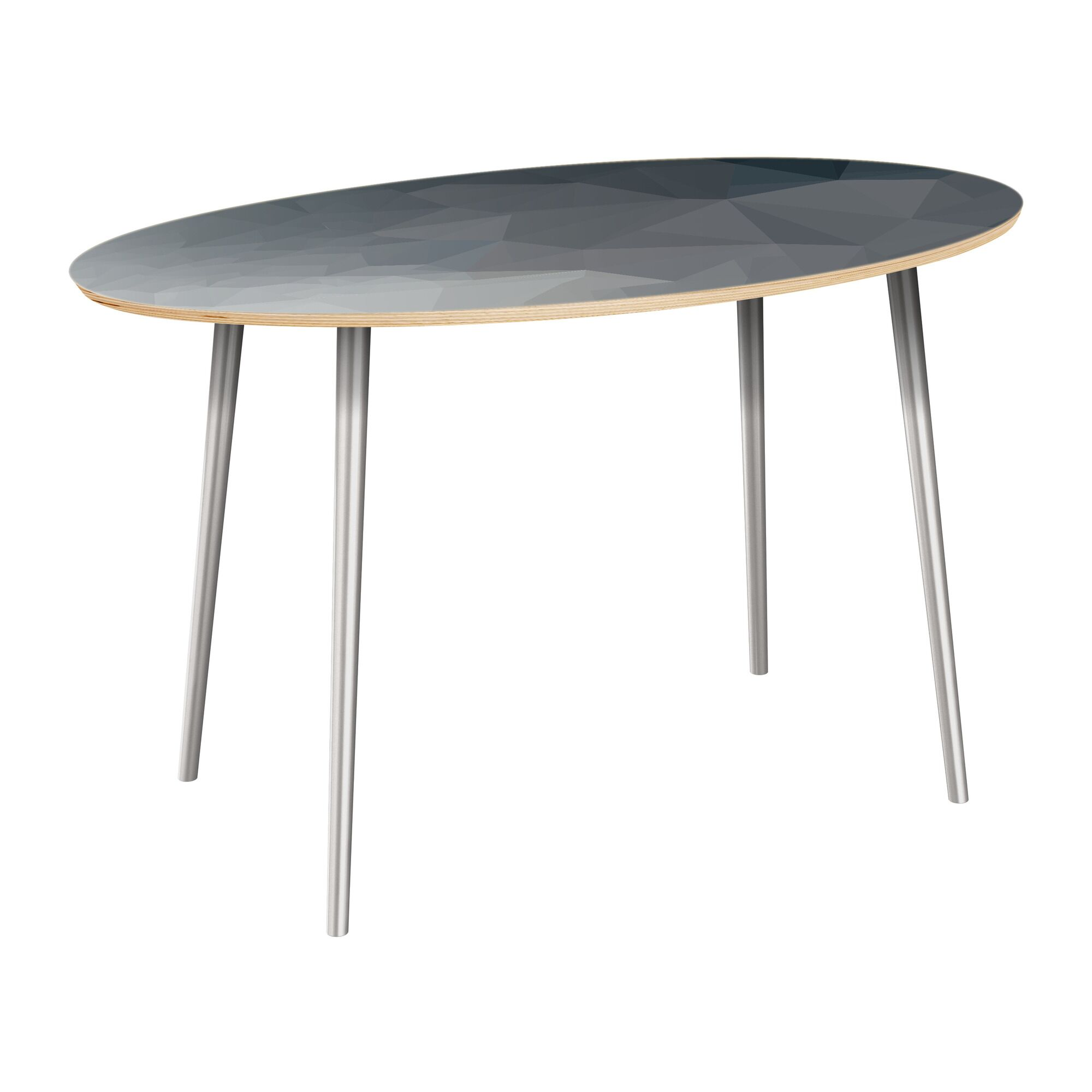 Claudio Dining Table Table Top Boarder Color: Natural, Table Base Color: Chrome, Table Top Color: Blue