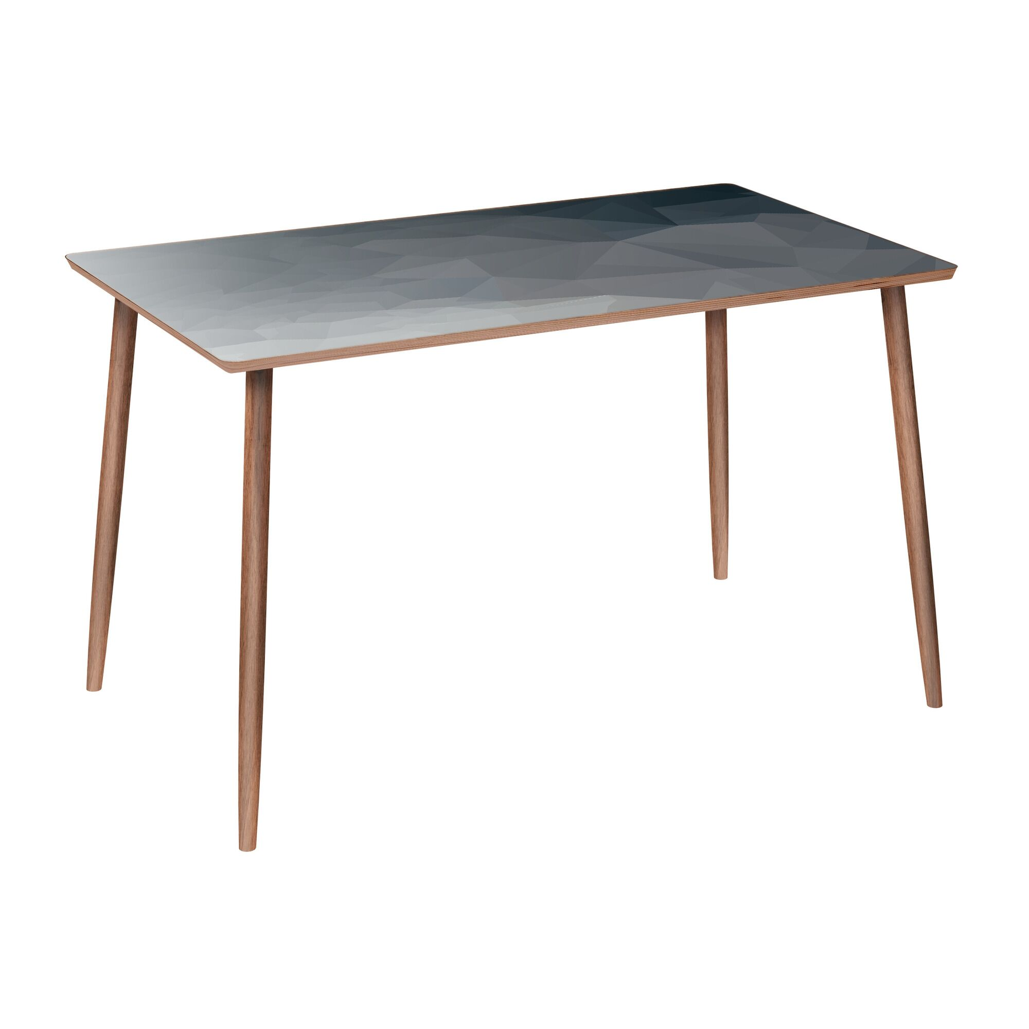 Luxton Dining Table Table Base Color: Walnut, Table Top Color: Gray/Black