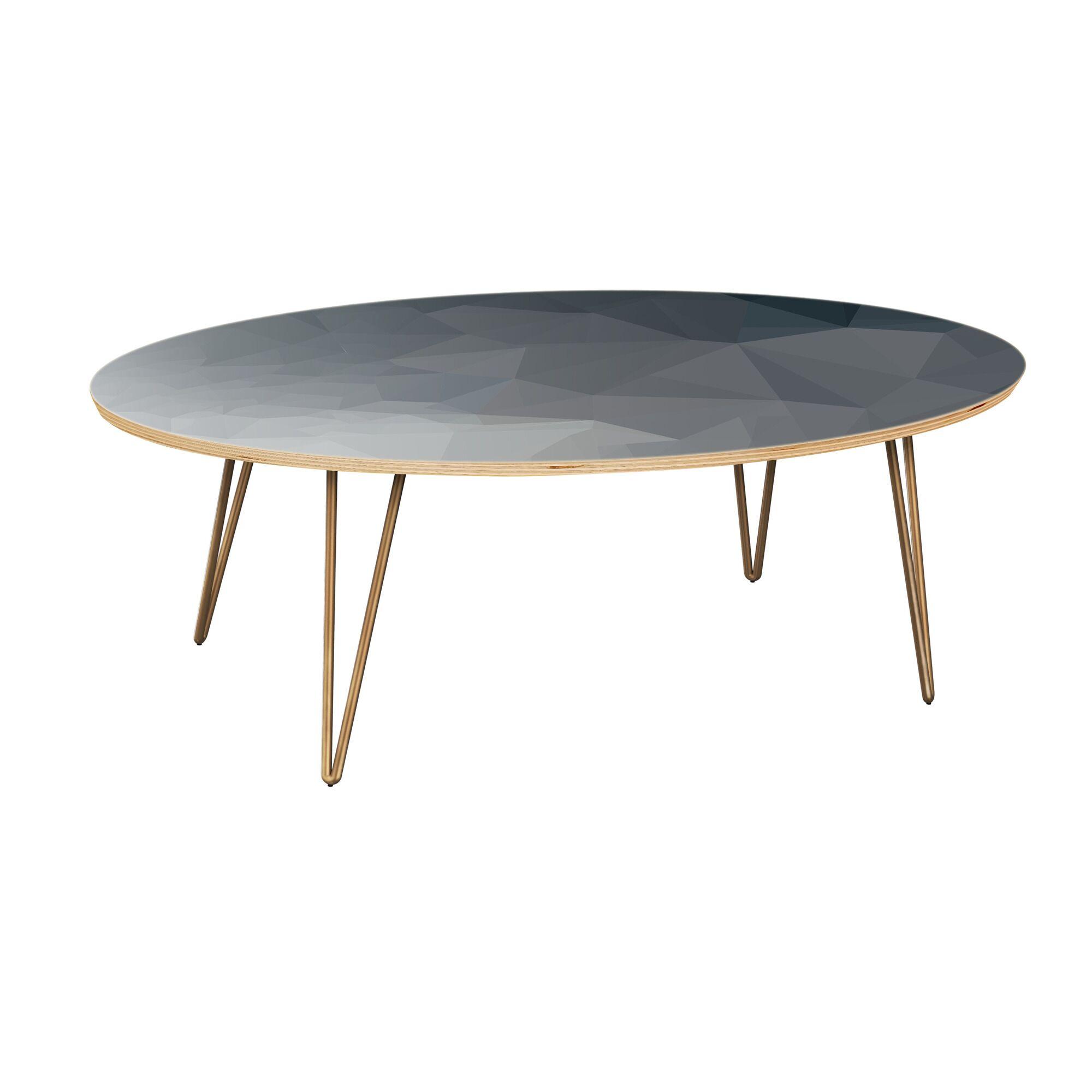 Henegar Coffee Table Table Top Boarder Color: Natural, Table Base Color: Brass, Table Top Color: Gray/Black