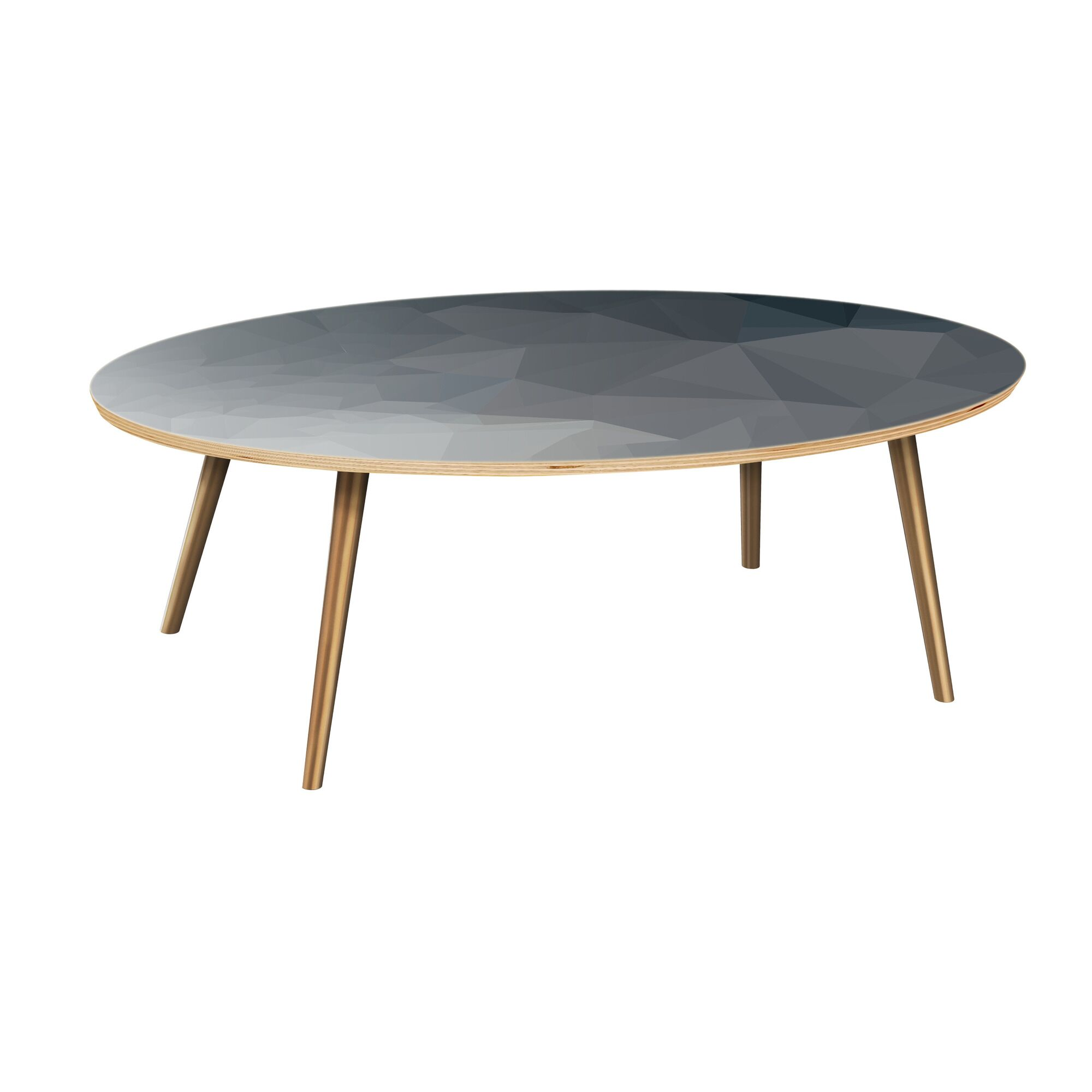 Henkle Coffee Table Table Top Boarder Color: Natural, Table Base Color: Brass, Table Top Color: Blue