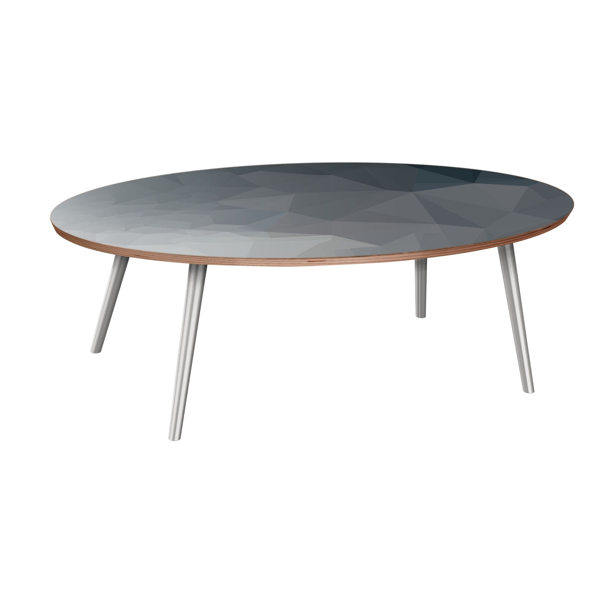 Henkle Coffee Table Table Base Color: Chrome, Table Top Boarder Color: Walnut, Table Top Color: Gray/Black