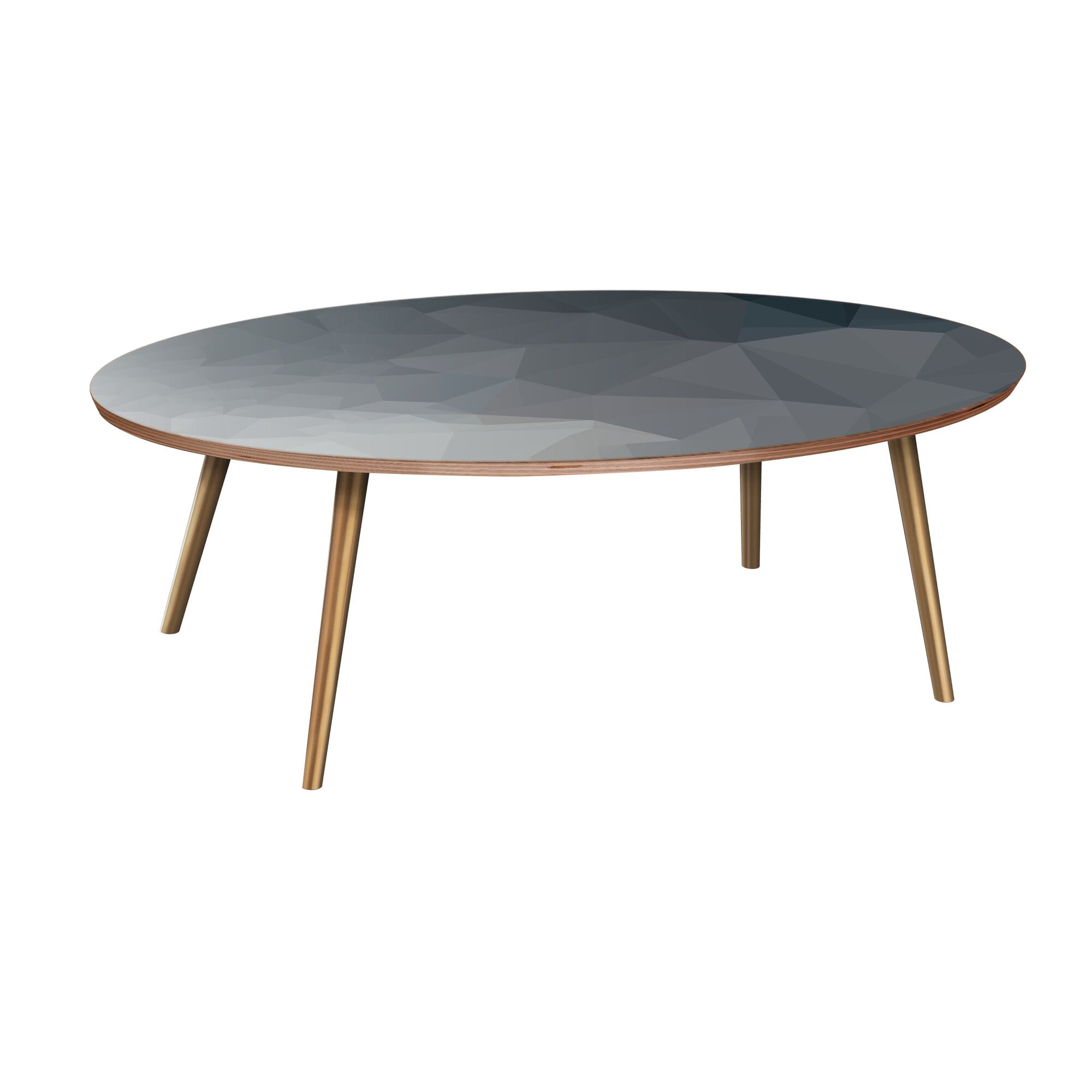 Henkle Coffee Table Table Base Color: Brass, Table Top Boarder Color: Walnut, Table Top Color: Blue