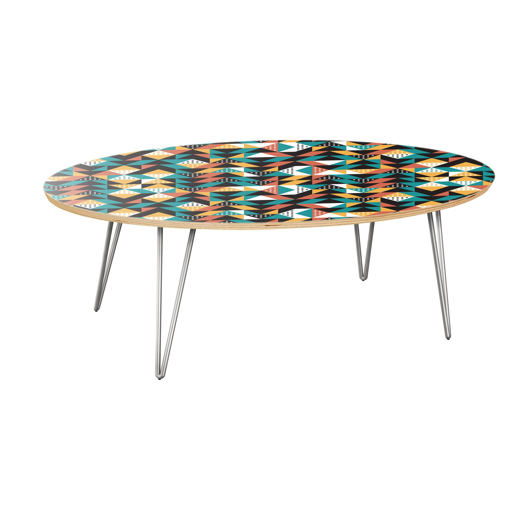Arabi Coffee Table Table Top Color: Natural, Table Base Color: Chrome