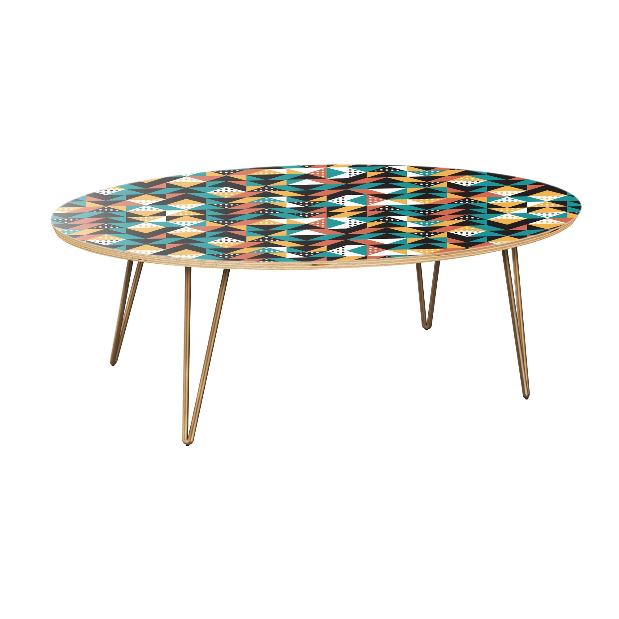 Arabi Coffee Table Table Top Color: Natural, Table Base Color: Brass