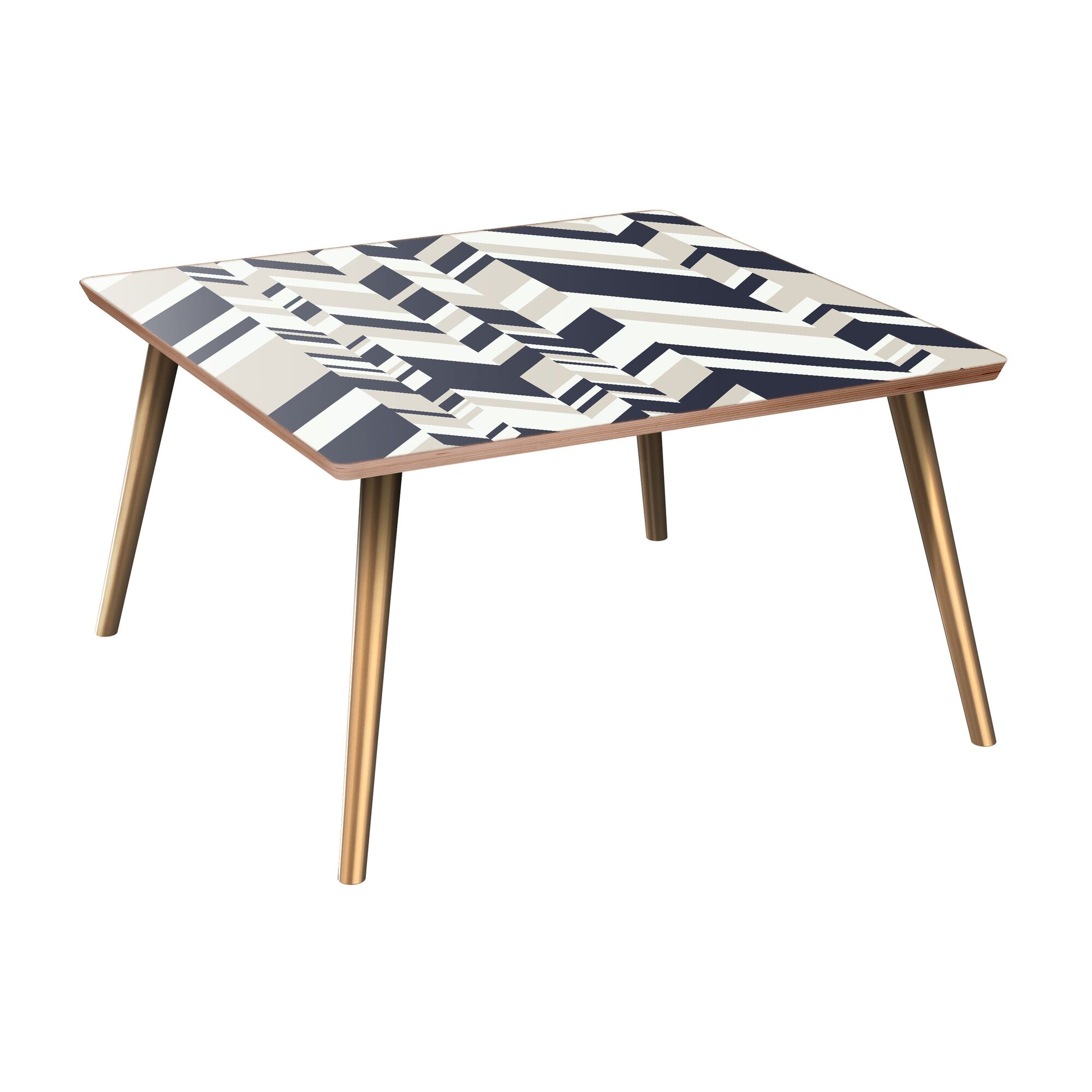 Jovan Coffee Table Table Base Color: Brass, Table Top Color: Walnut