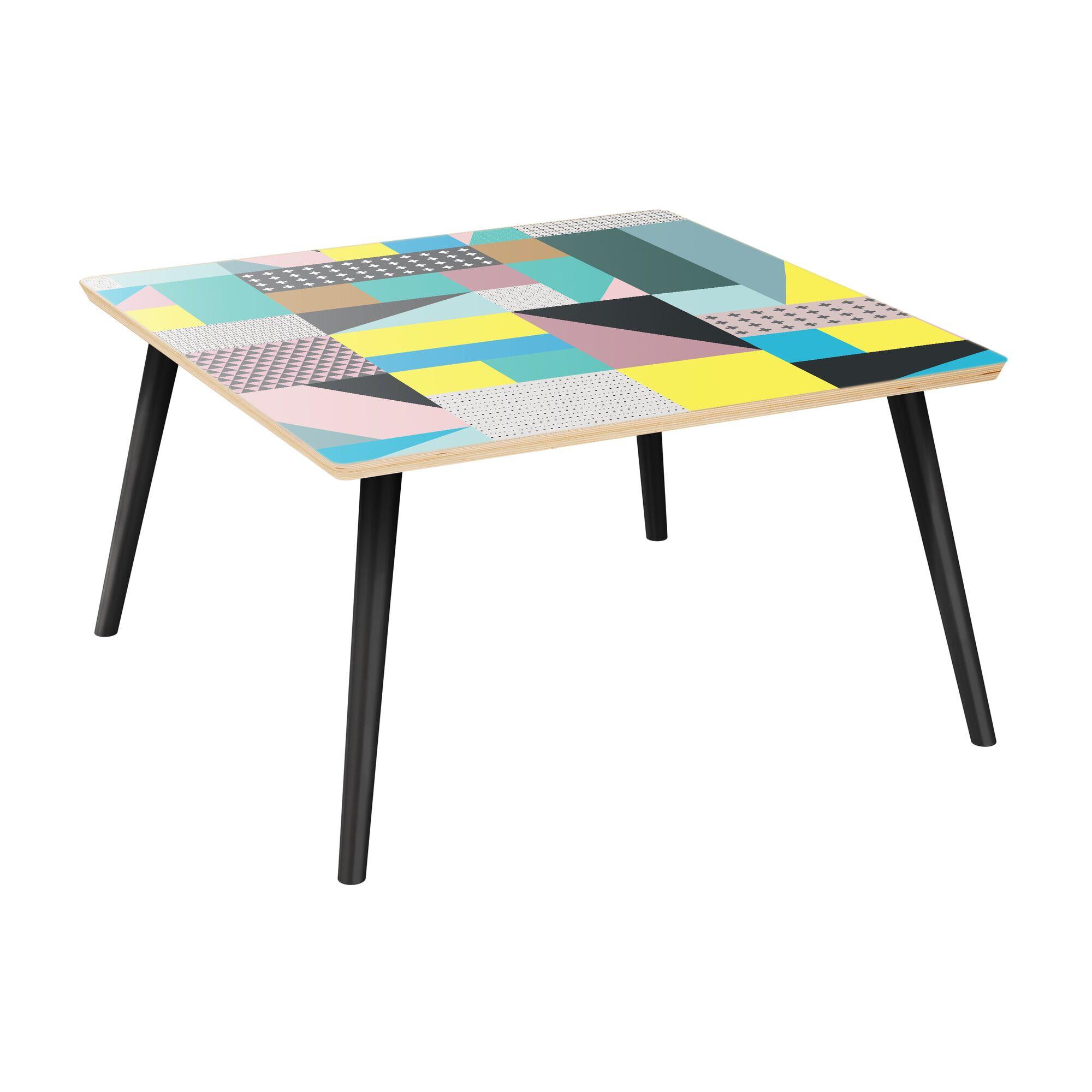 Joya Coffee Table Table Top Color: Natural, Table Base Color: Black